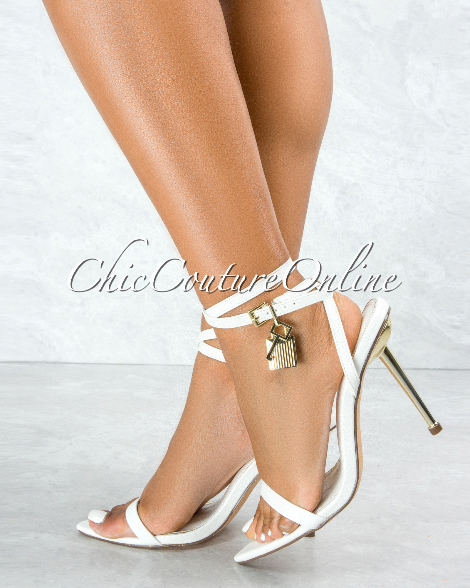 Banks White Gold Lock and Key Pointed Toe Heels