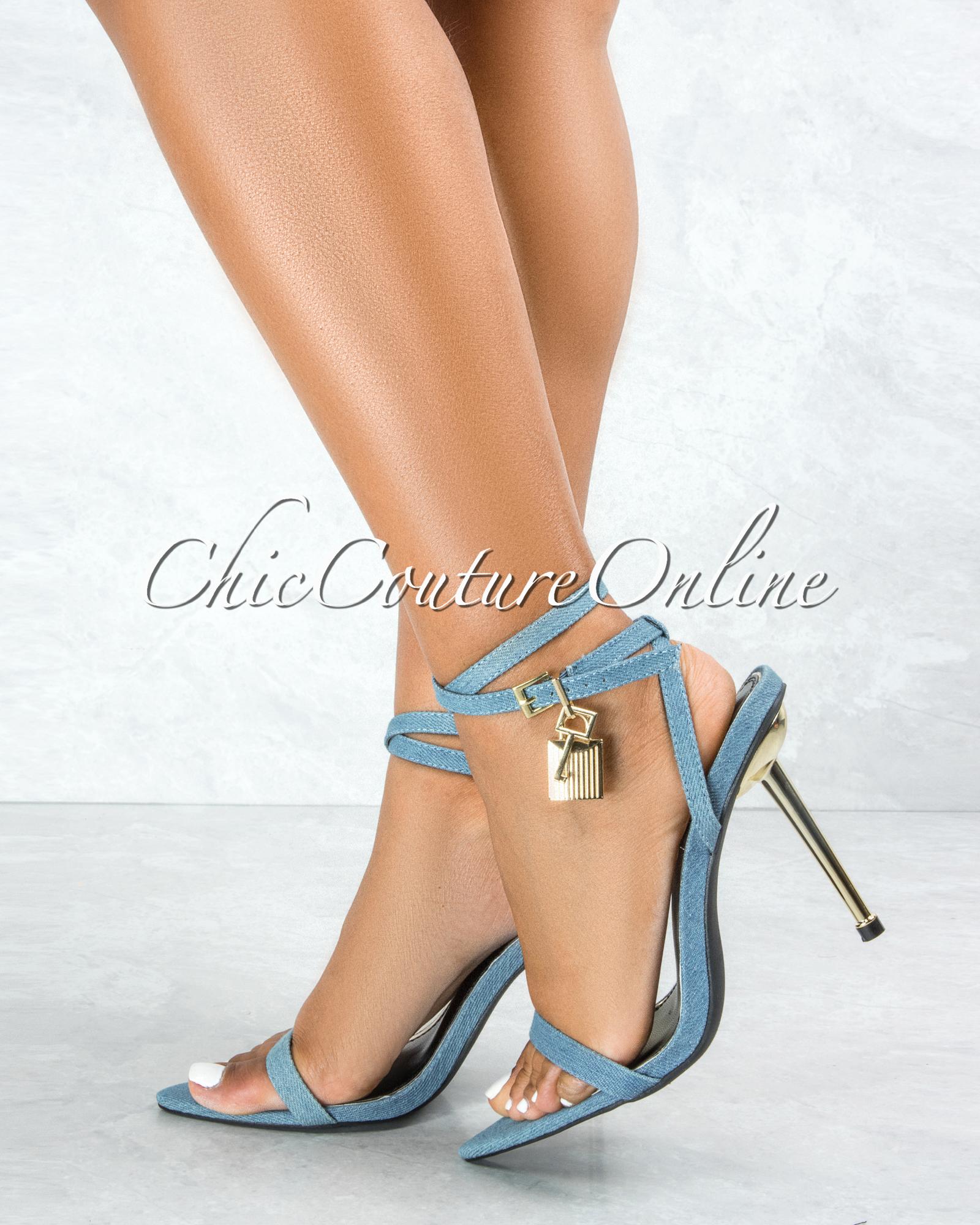 Banks Denim Blue Gold Lock and Key Pointed Toe Heels