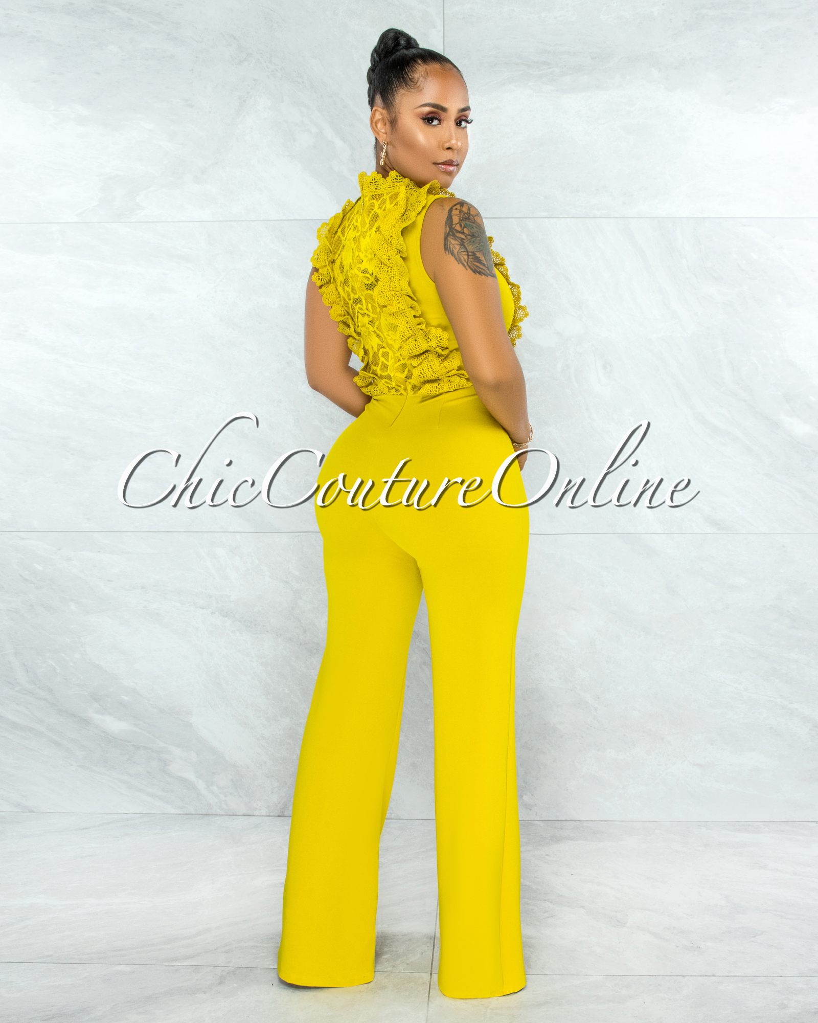 Firth Lime Yellow Crochet See-Through Top Jumpsuit