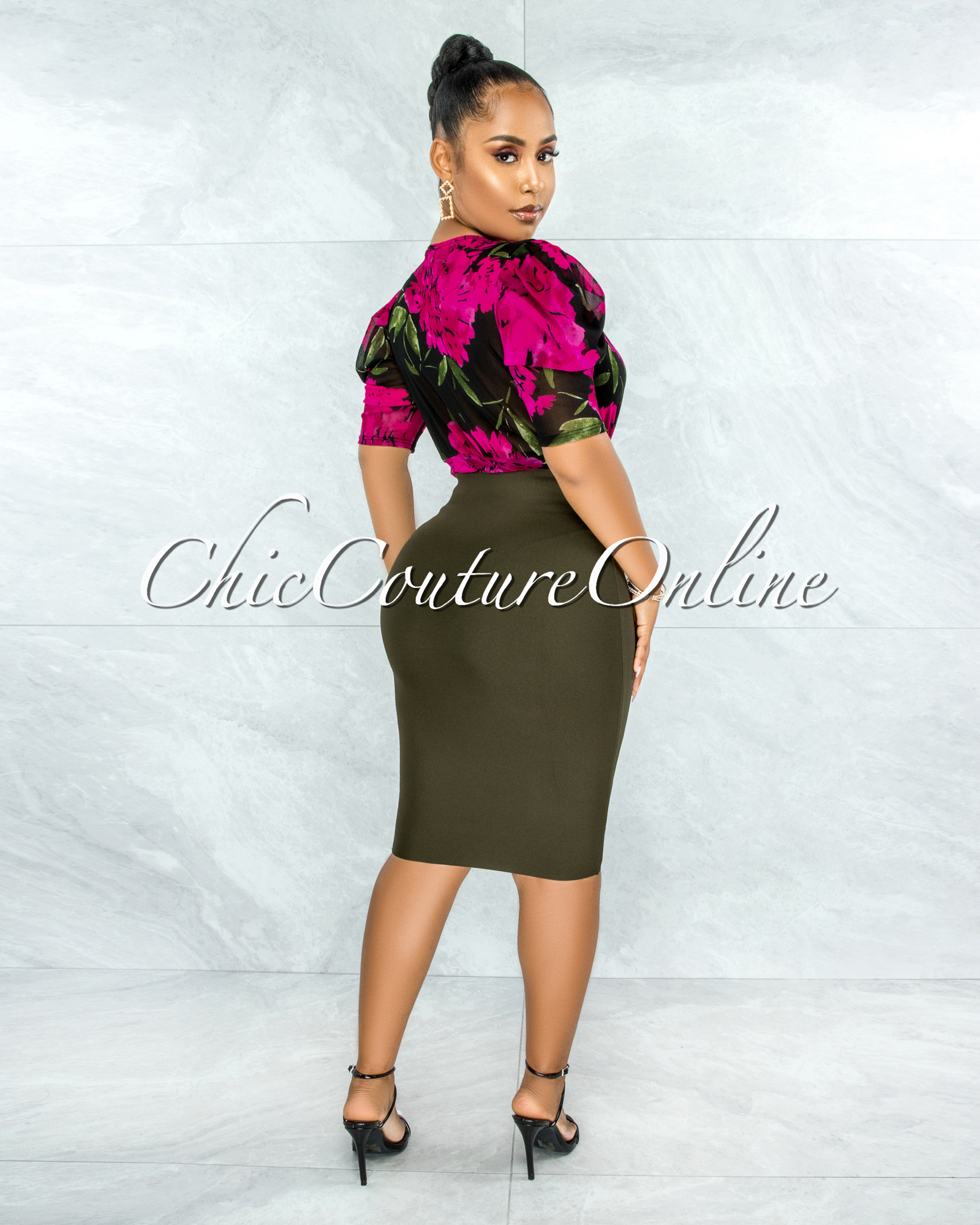 Drisana Black Fuchsia Floral Print Mesh Drape Bodysuit