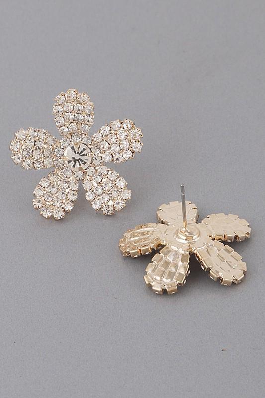 Diana Gold Rhinestone Flower Earrings