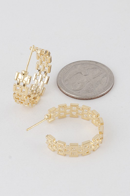 Kenza Gold Double Melted Chain Hoop Earrings