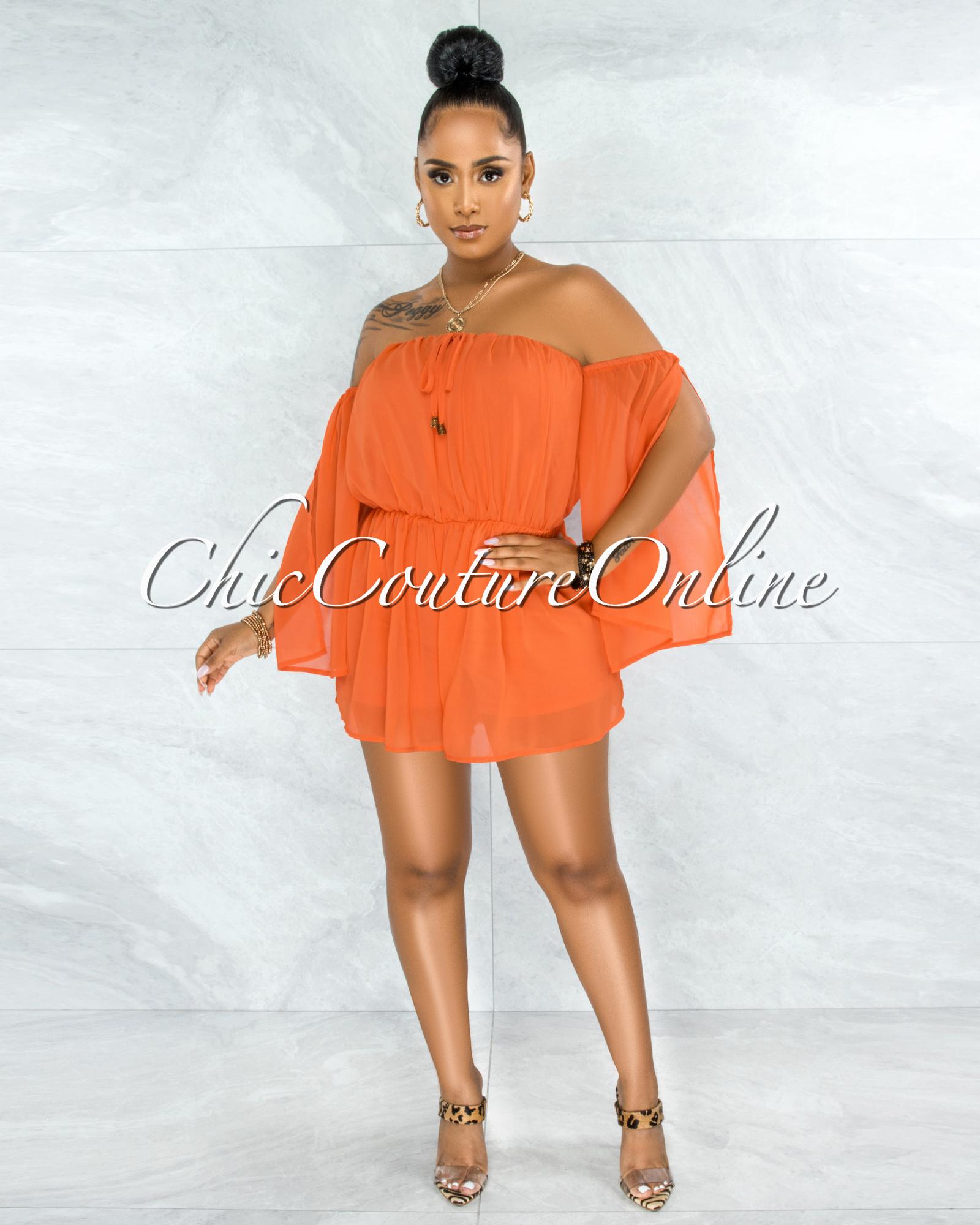 Farsy Orange Off-The-Shoulder Slit Sleeves Romper