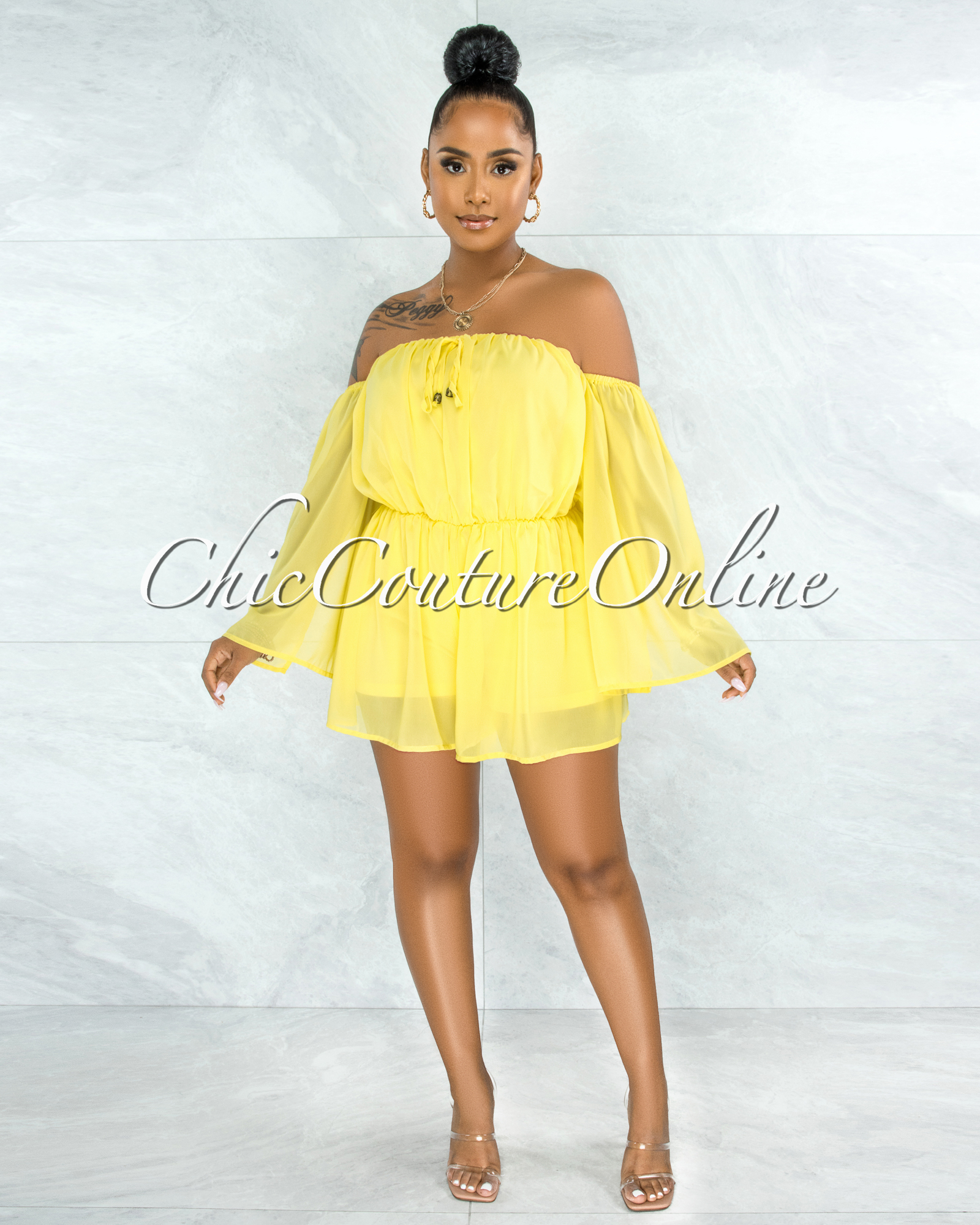 Farsy Yellow Off-The-Shoulder Slit Sleeves Romper