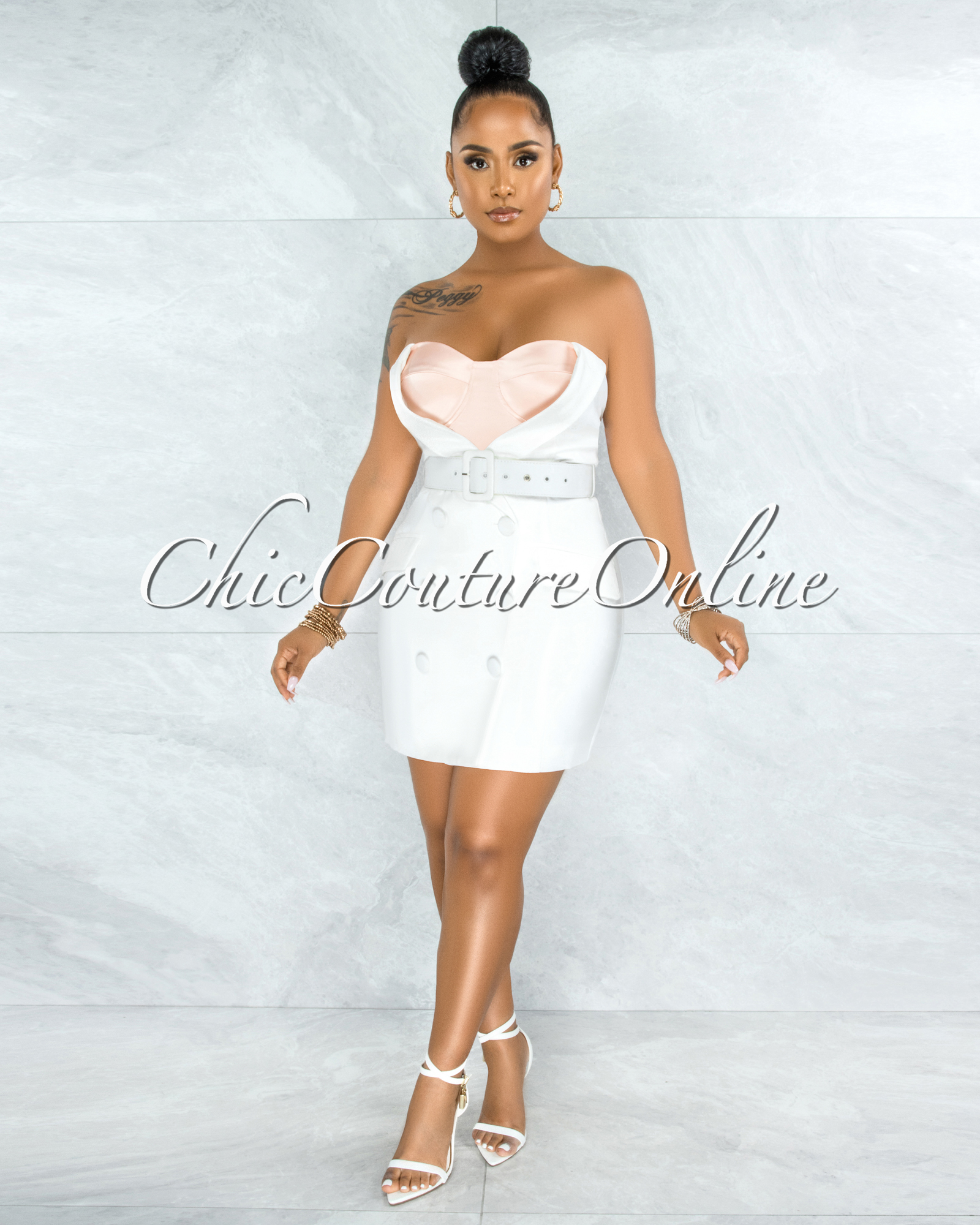 Lector Off-White Nude Under Top Illusion Trench Dress