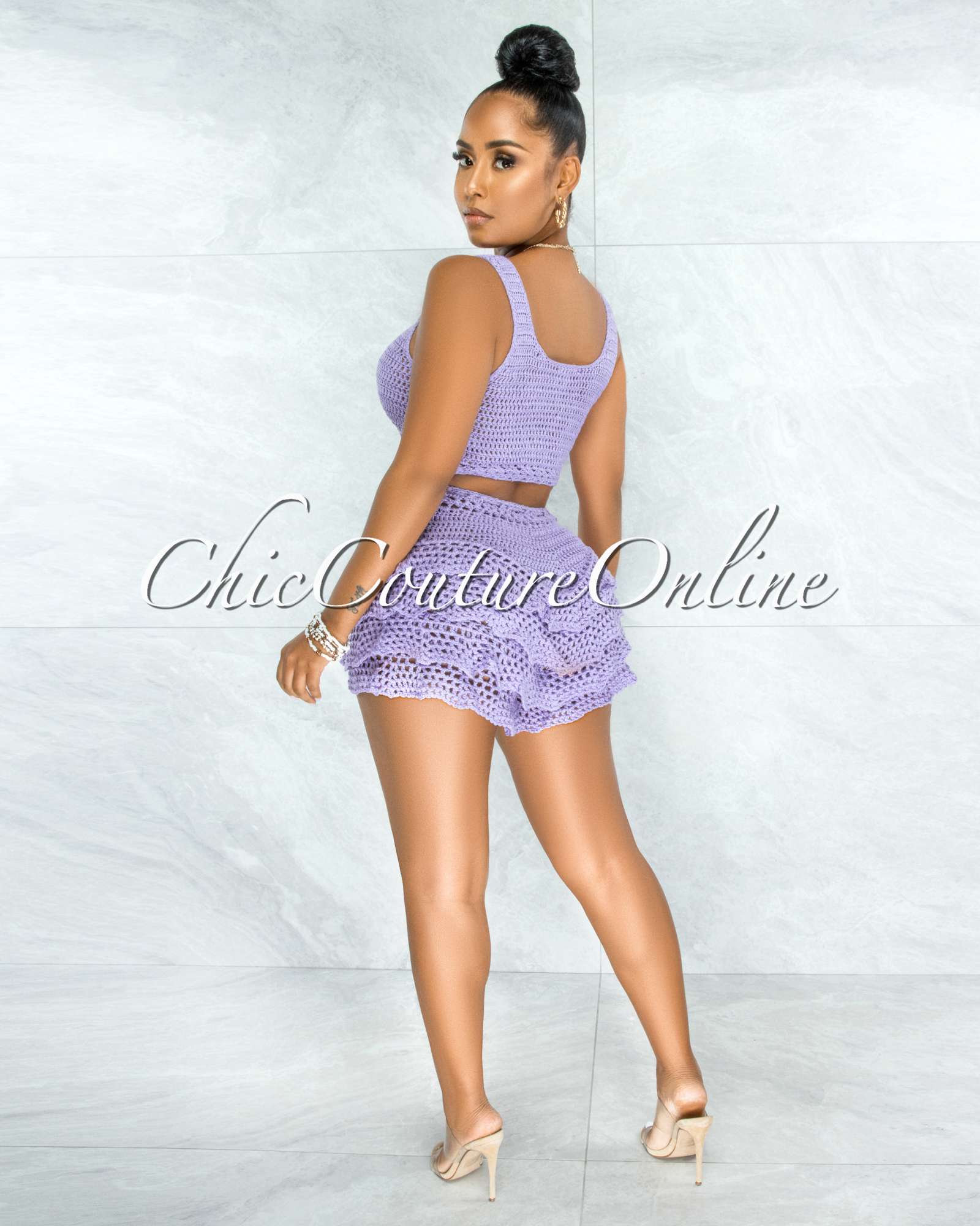 Leary Lilac Crochet Cover-Up Ruffle Skort Set