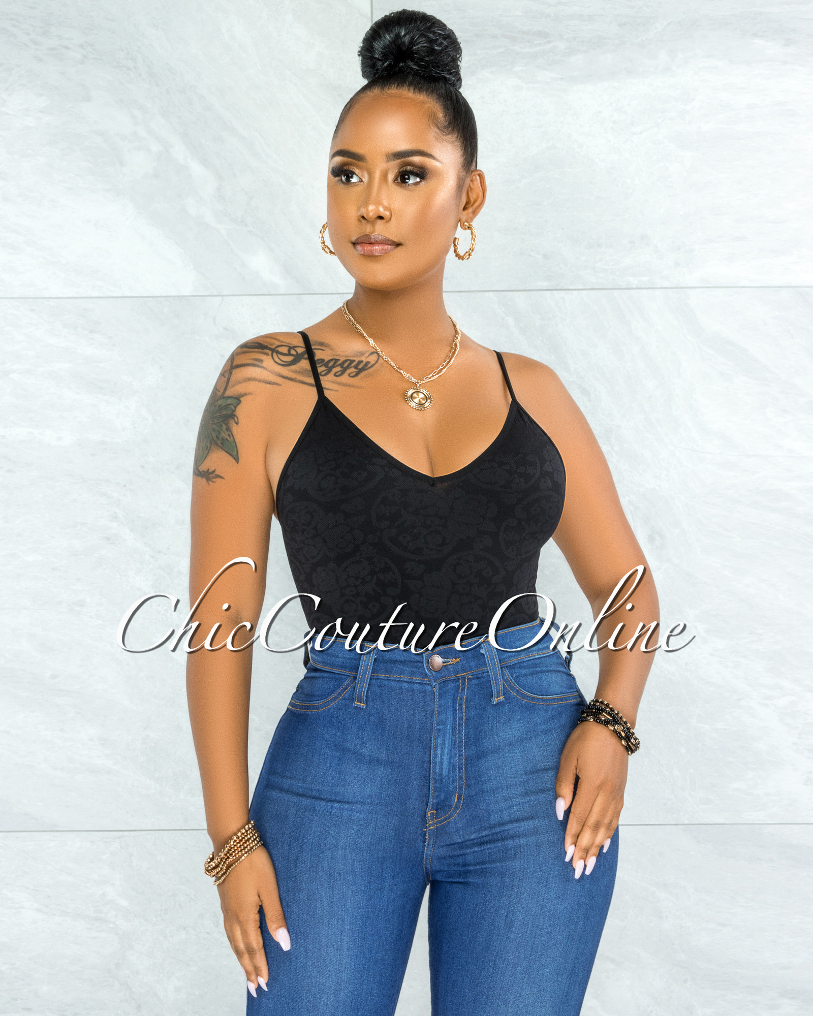 Chasya Black Textured V-Neck  Crop Top