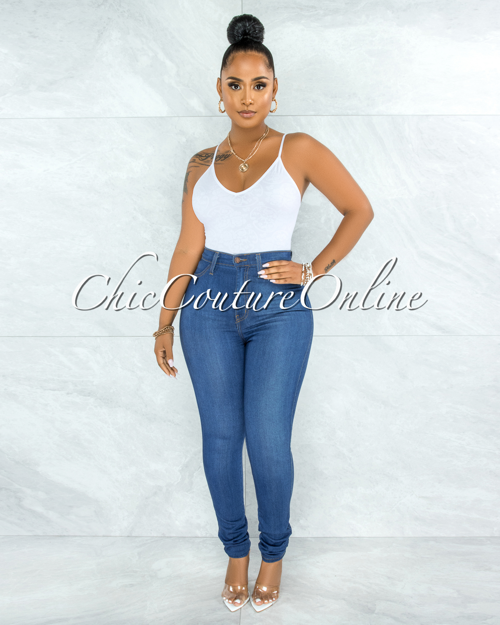 Mia Medium Wash Denim High-Waist Skinny Jeans