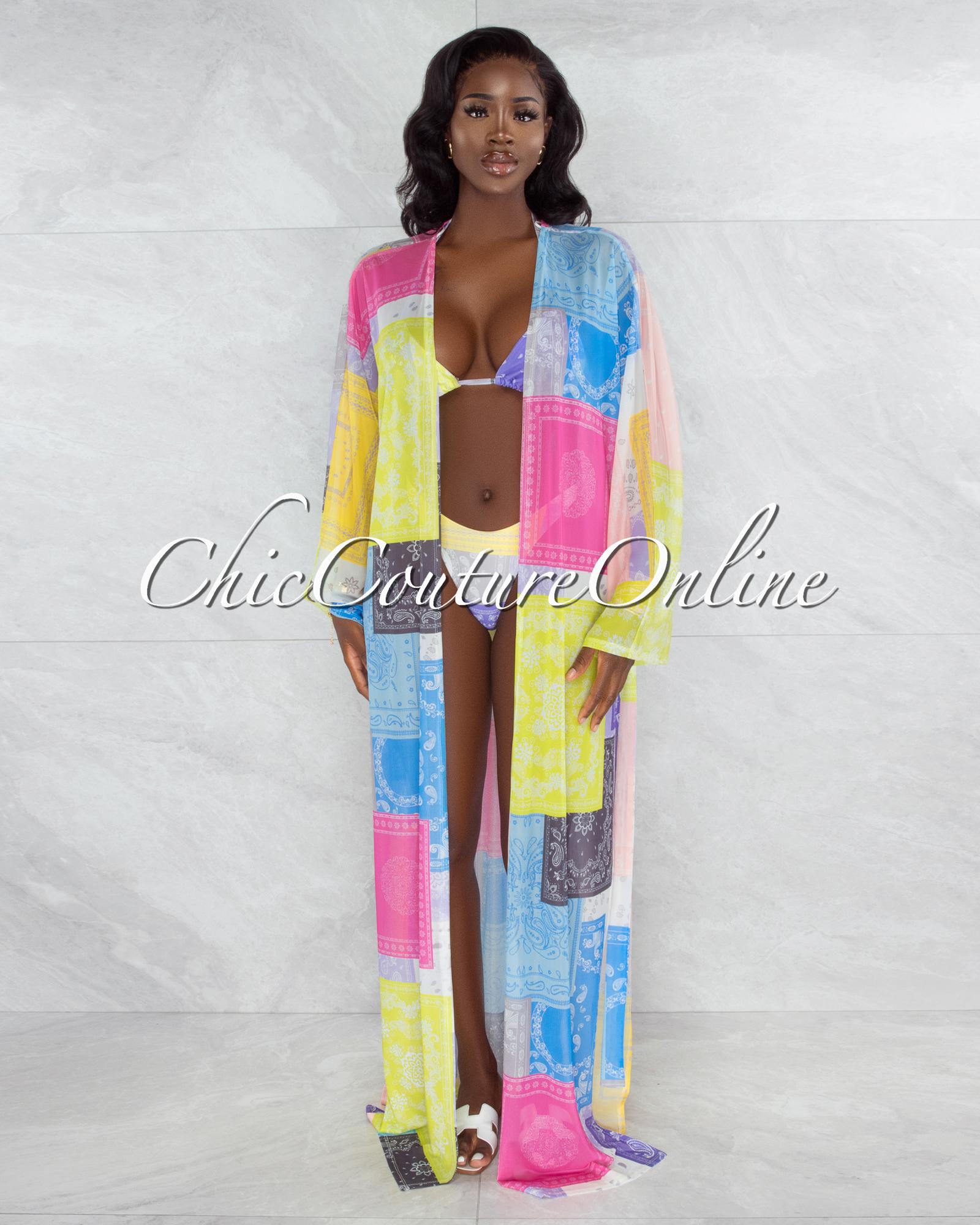 Domani Pastel Tones Paisley Print Three Piece Set Swimsuit