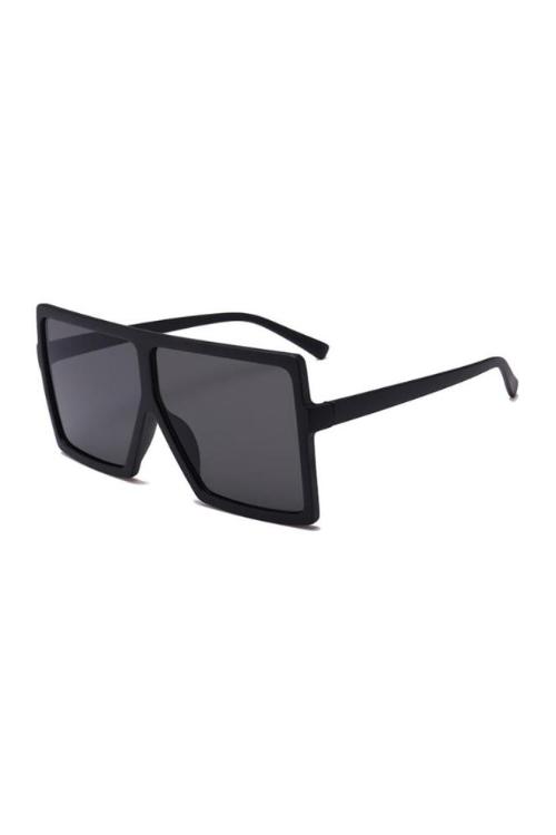 Stunna All Black Square Large Sunglasses