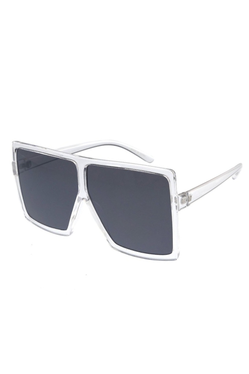 Stunna Clear Frame Black Lens Square Large Sunglasses