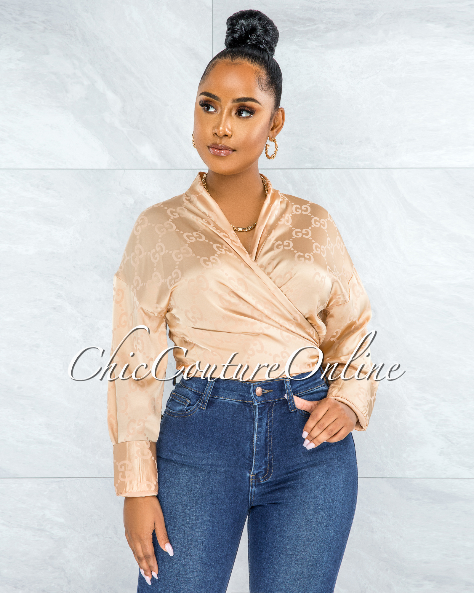 Cameron Gold GG Print Front Tie Satin Blouse
