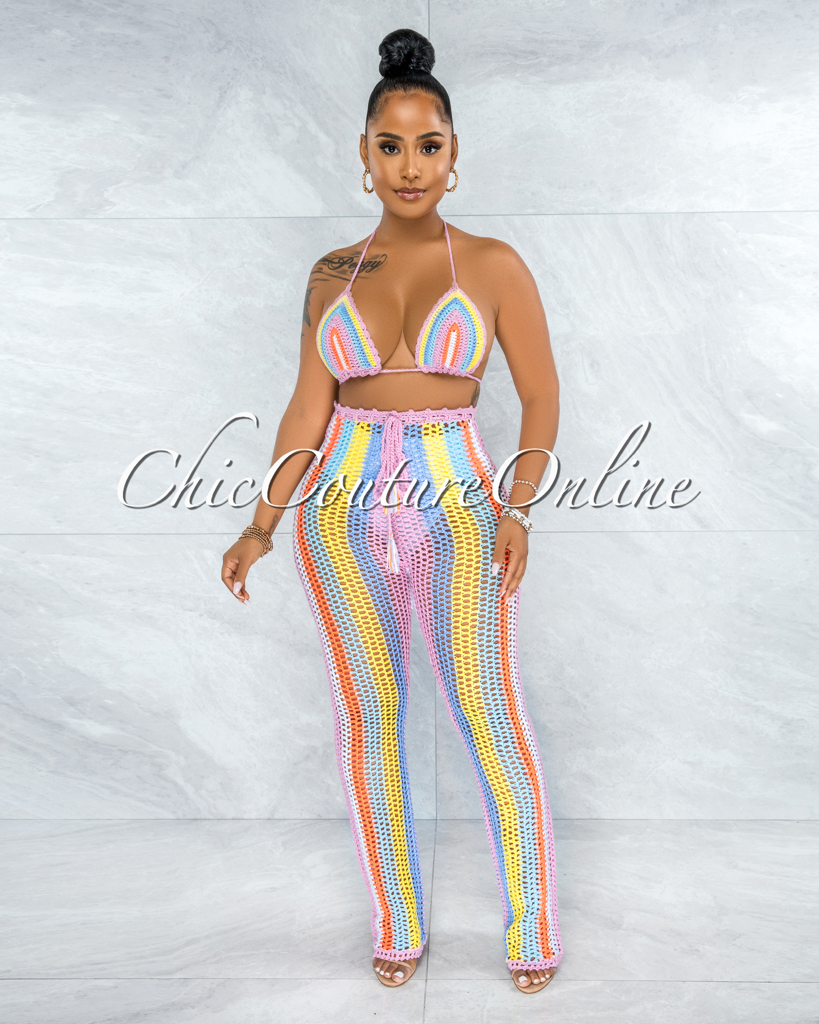 Ancina Pink Multi-Color Crochet Cover-Up Two Piece Set