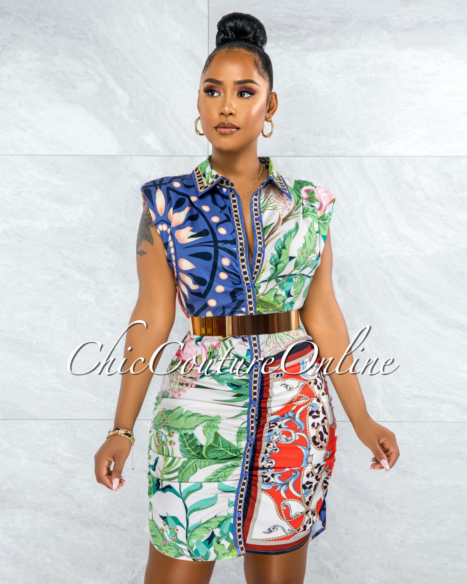 Taniel Blue Multi-Color Print Buttons Drape Shirt Dress