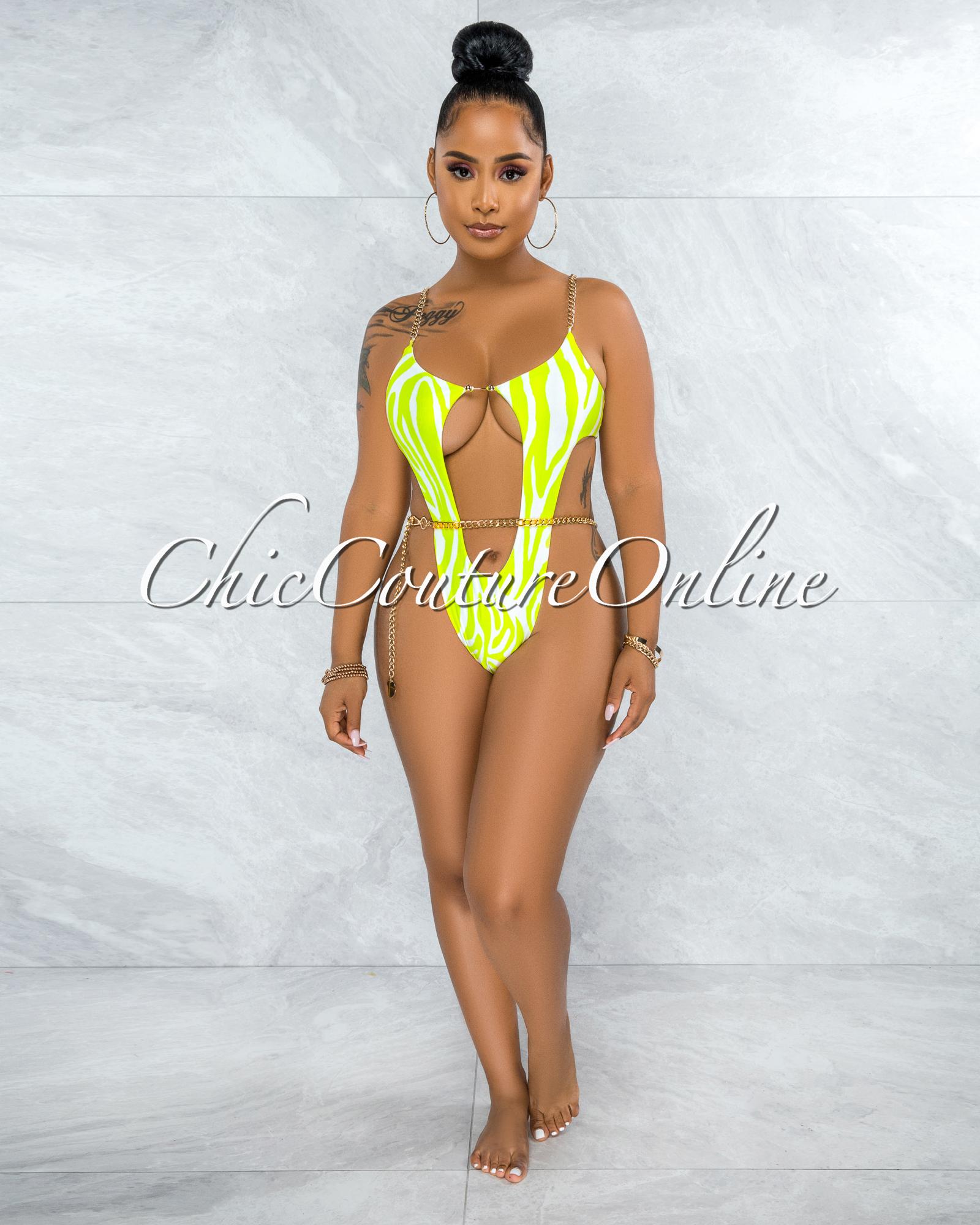 Alden Green White Gold Link Swimsuit Cover-up Set