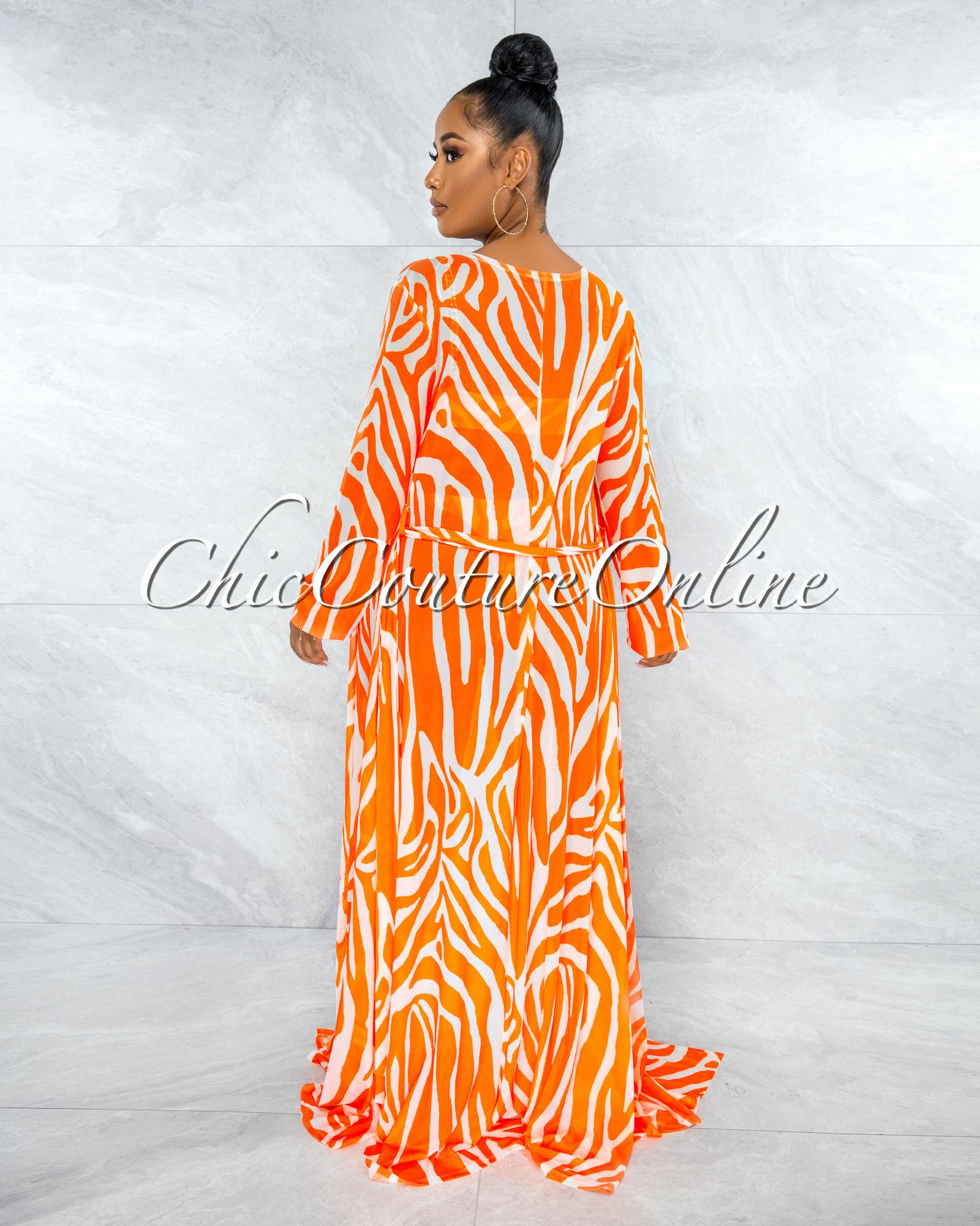 Alden Orange White Gold Link Swimsuit Cover-up Set