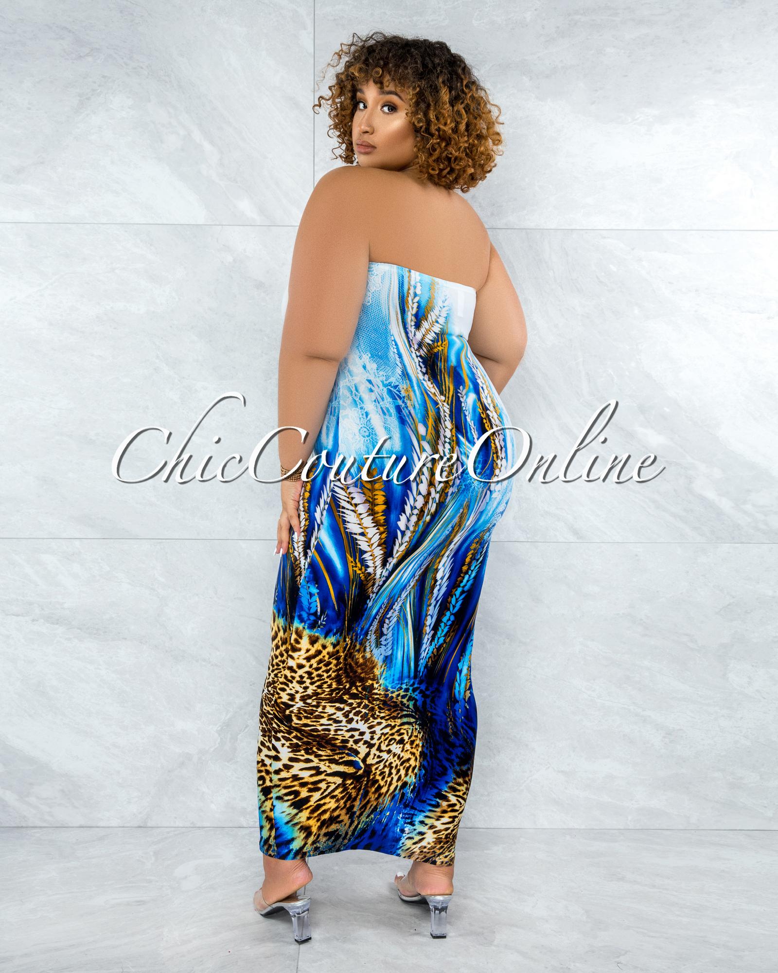 Canisa White Blue Leopard Print Tube Maxi Dress