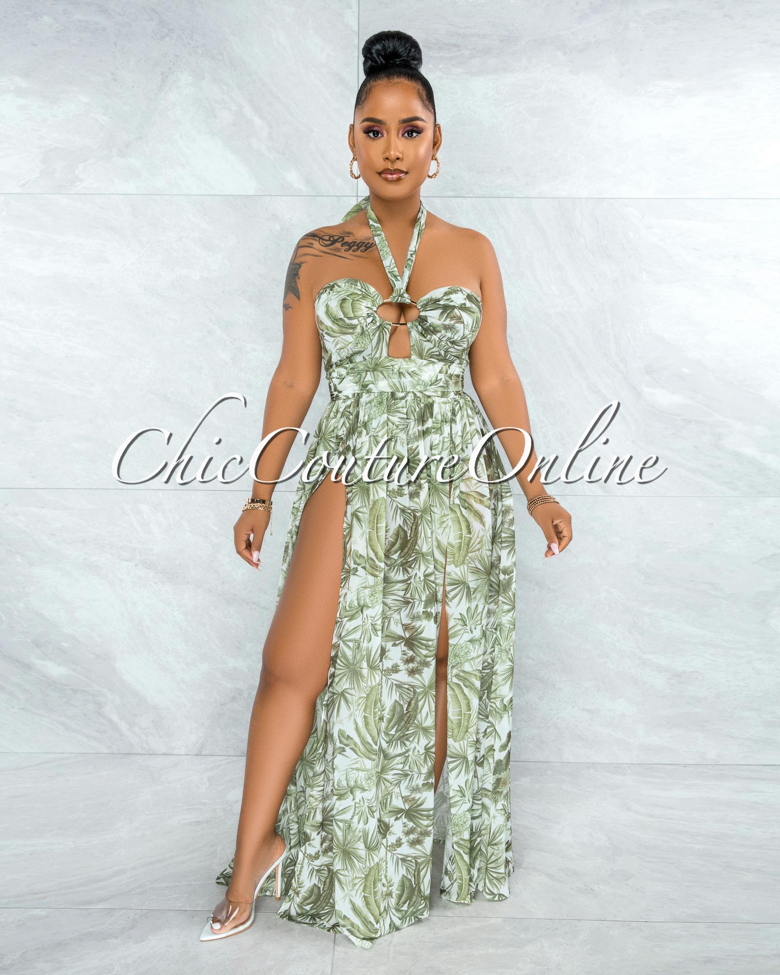 Elata Ivory Green Leaf Print O-Ring Detail Bodysuit Maxi Dress