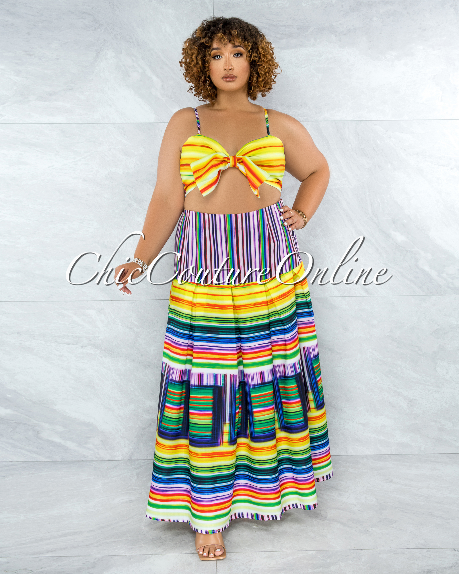 Signia Yellow Purple Bow Accent Top & Maxi Skirt Set