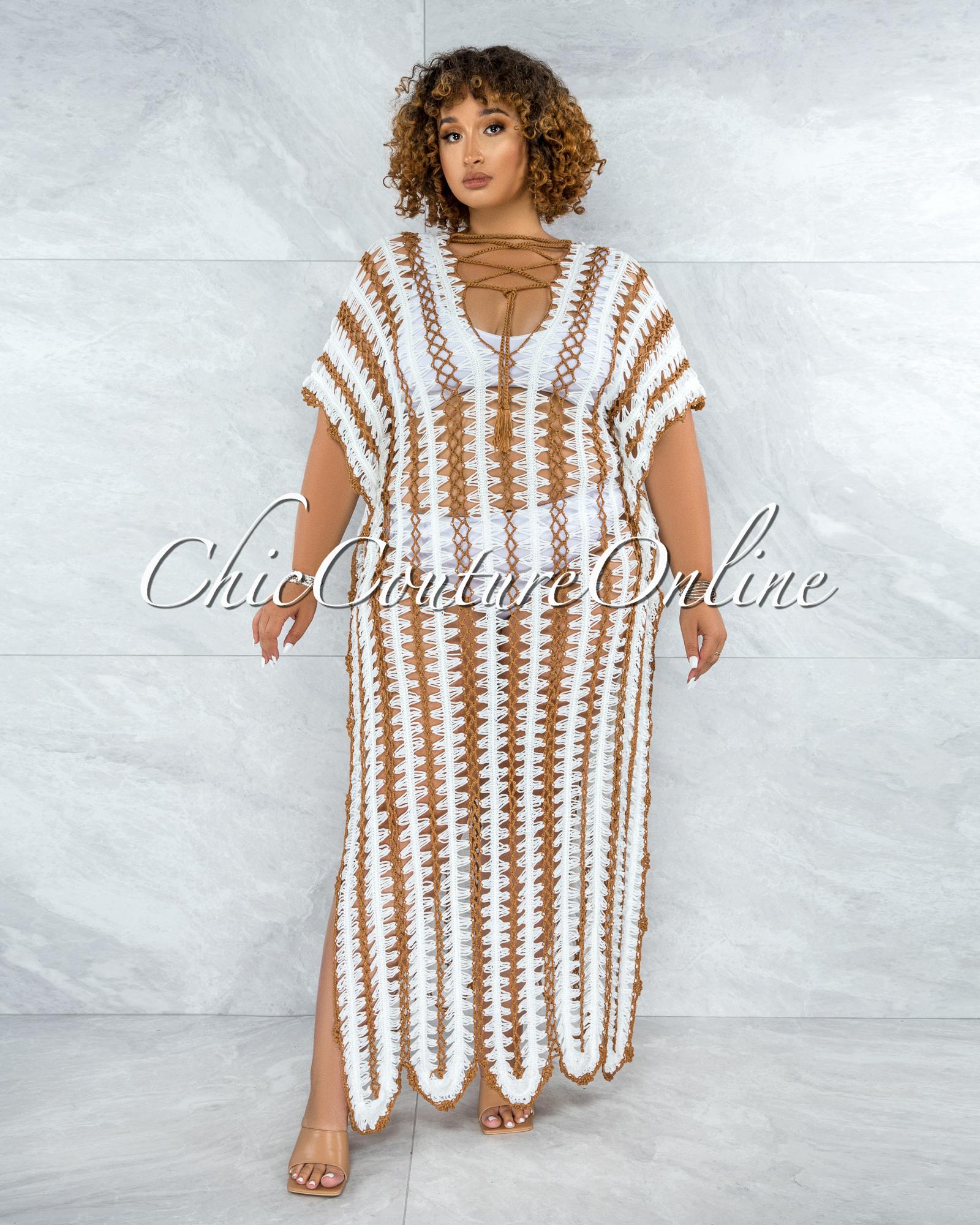 Cabo Off-White Mocha Crochet Cover-Up Maxi Dress