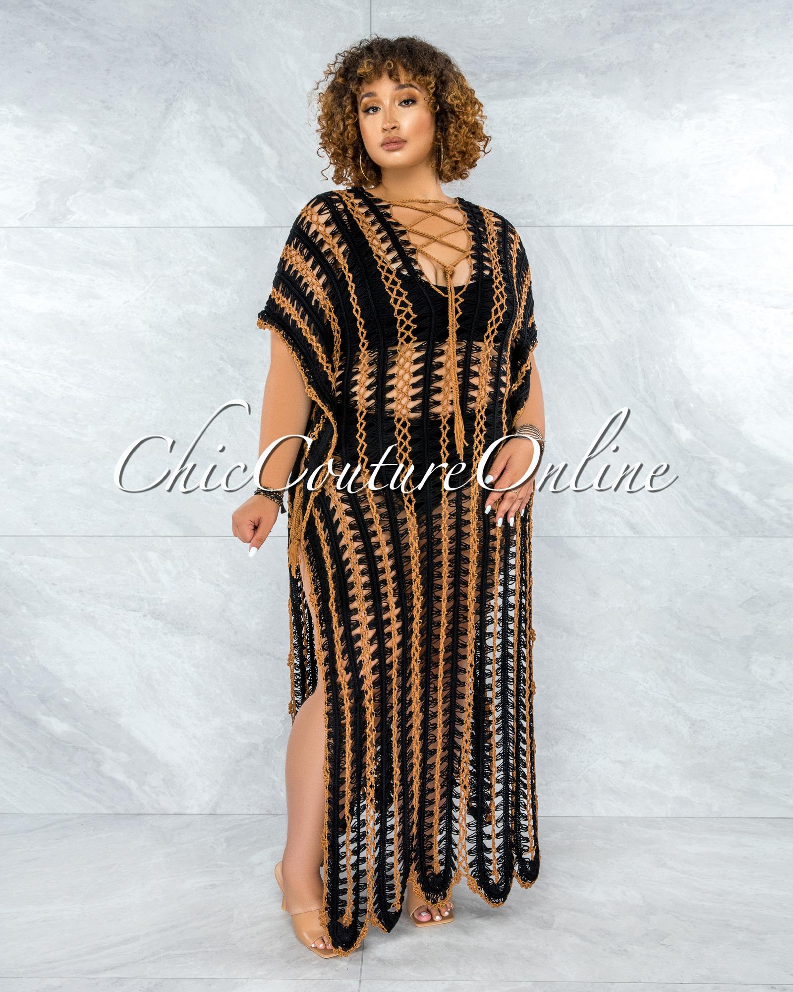 Cabo Black Mocha Crochet Cover-Up Maxi Dress