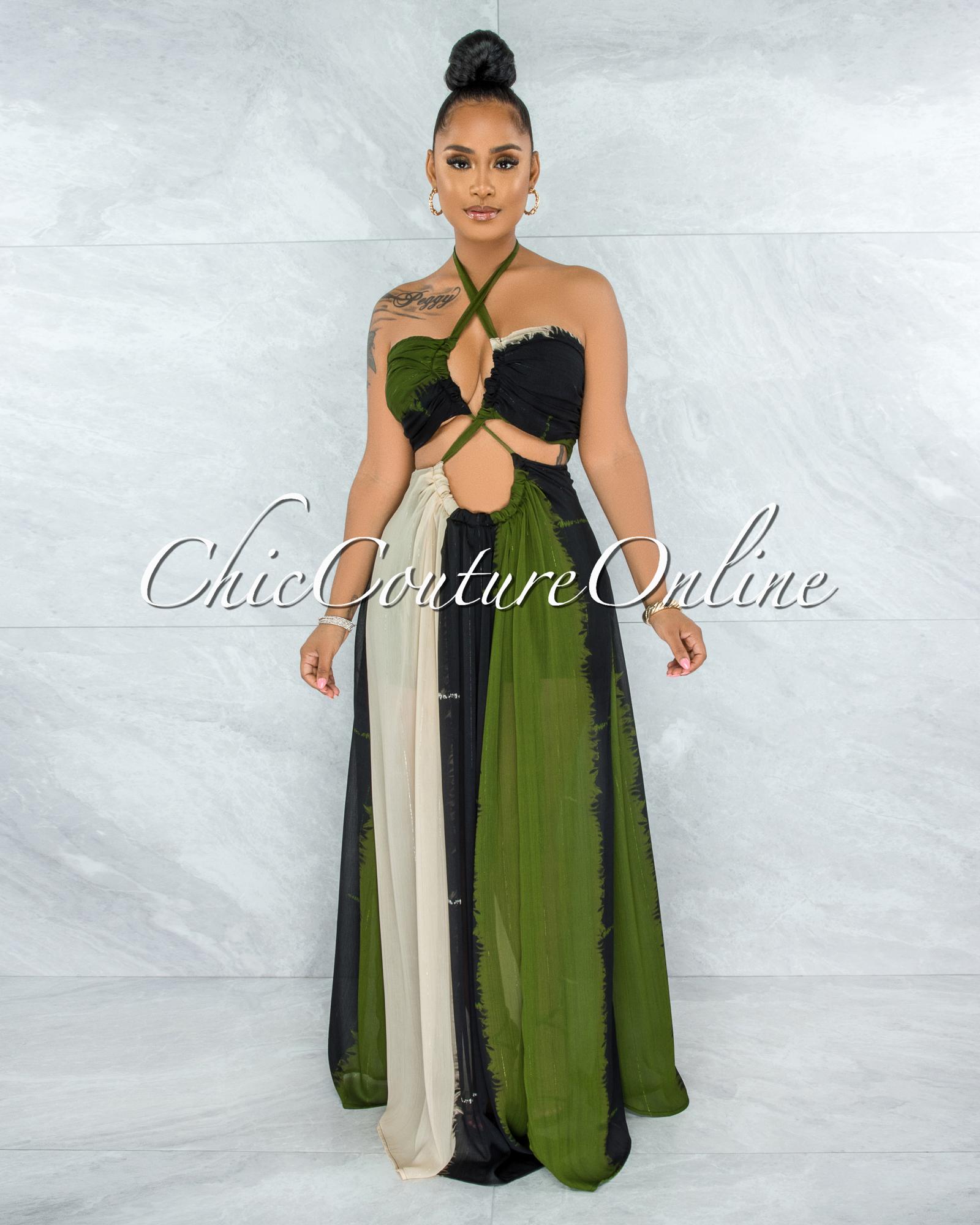 Marnin Cream Olive Black Cut-Out Maxi CURVACEOUS Dress