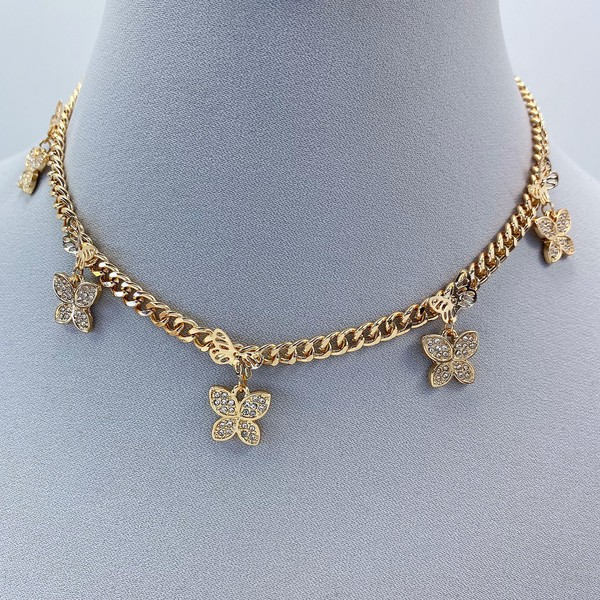 Willa Gold Butterfly Charms Accented Necklace