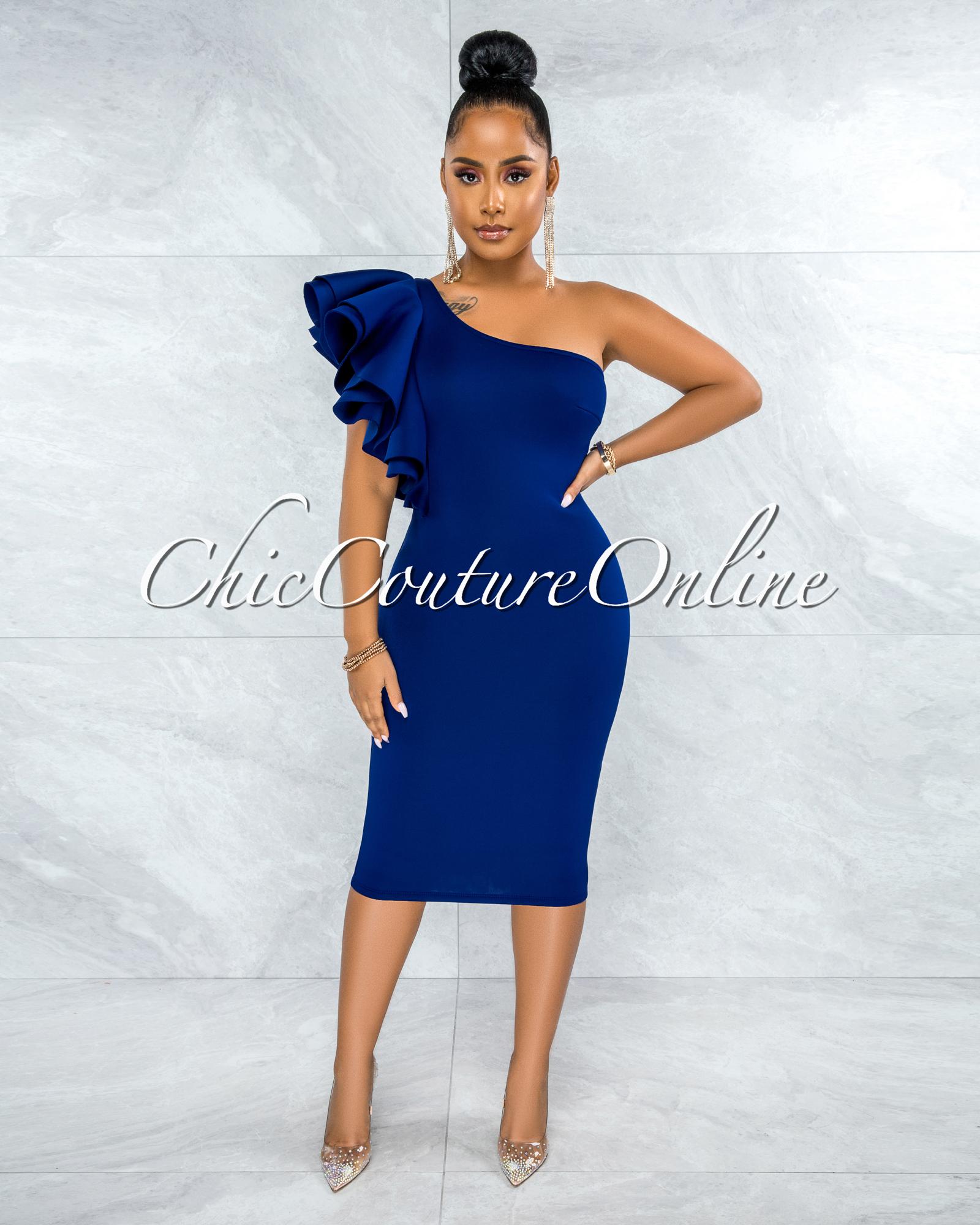 Rocio Navy Blue Single Shoulder Ruffle Ponti Midi Dress