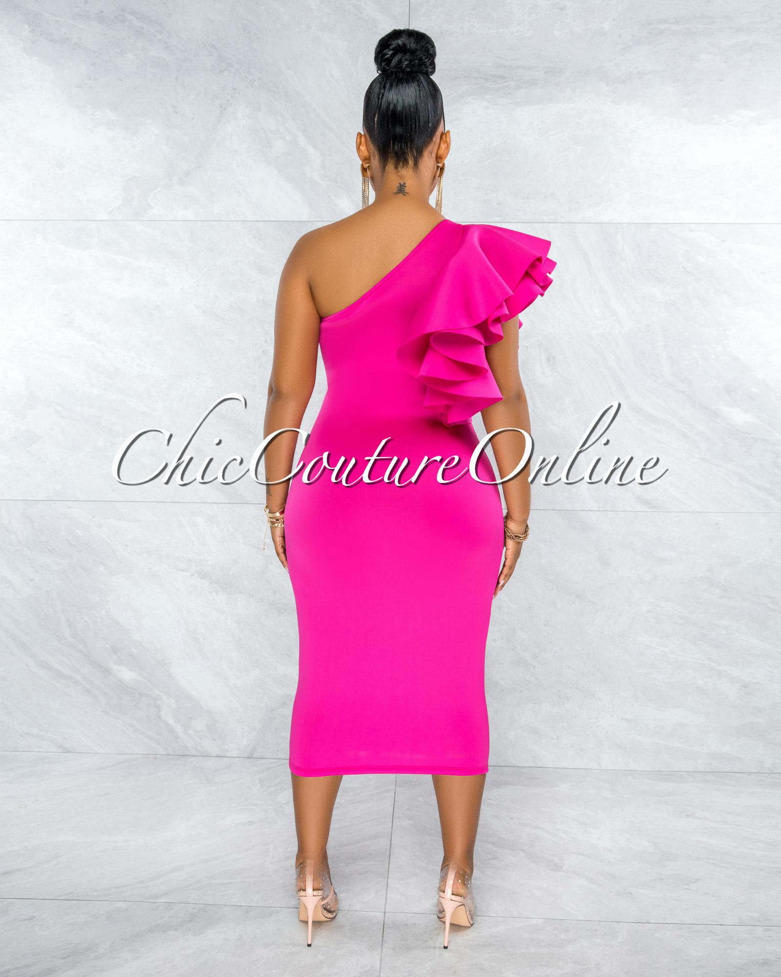 Rocio Fuchsia Single Shoulder Ruffle Ponti Midi Dress