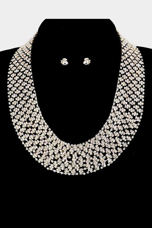 Debbie Gold Crystal Statement Necklace