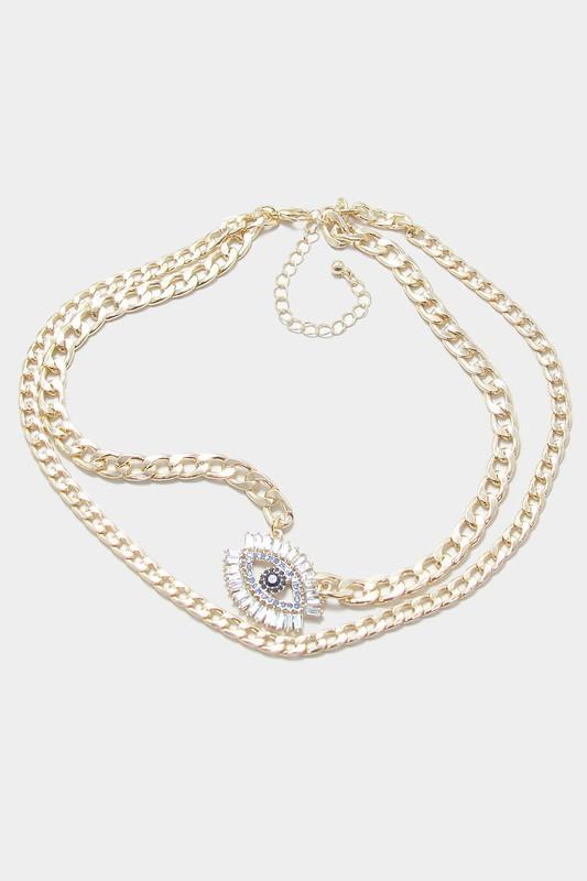 Norma Gold Embellished Evil Eye Pendant Double Layered Necklace