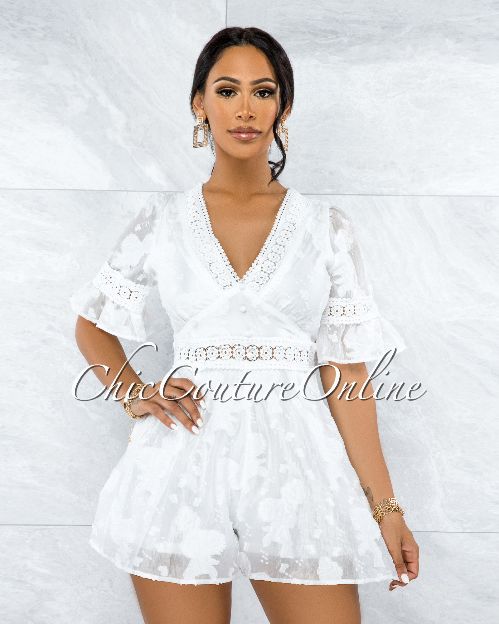 Eulanda Off-White Embroidery Top Flutter Romper