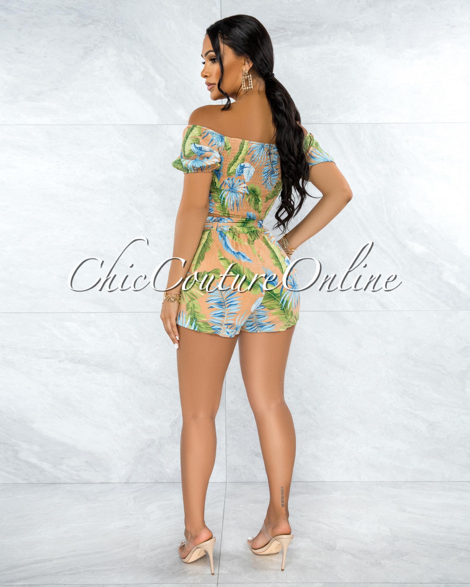 Flemini Tan Green Leaf Print Crop Top & Shorts Set