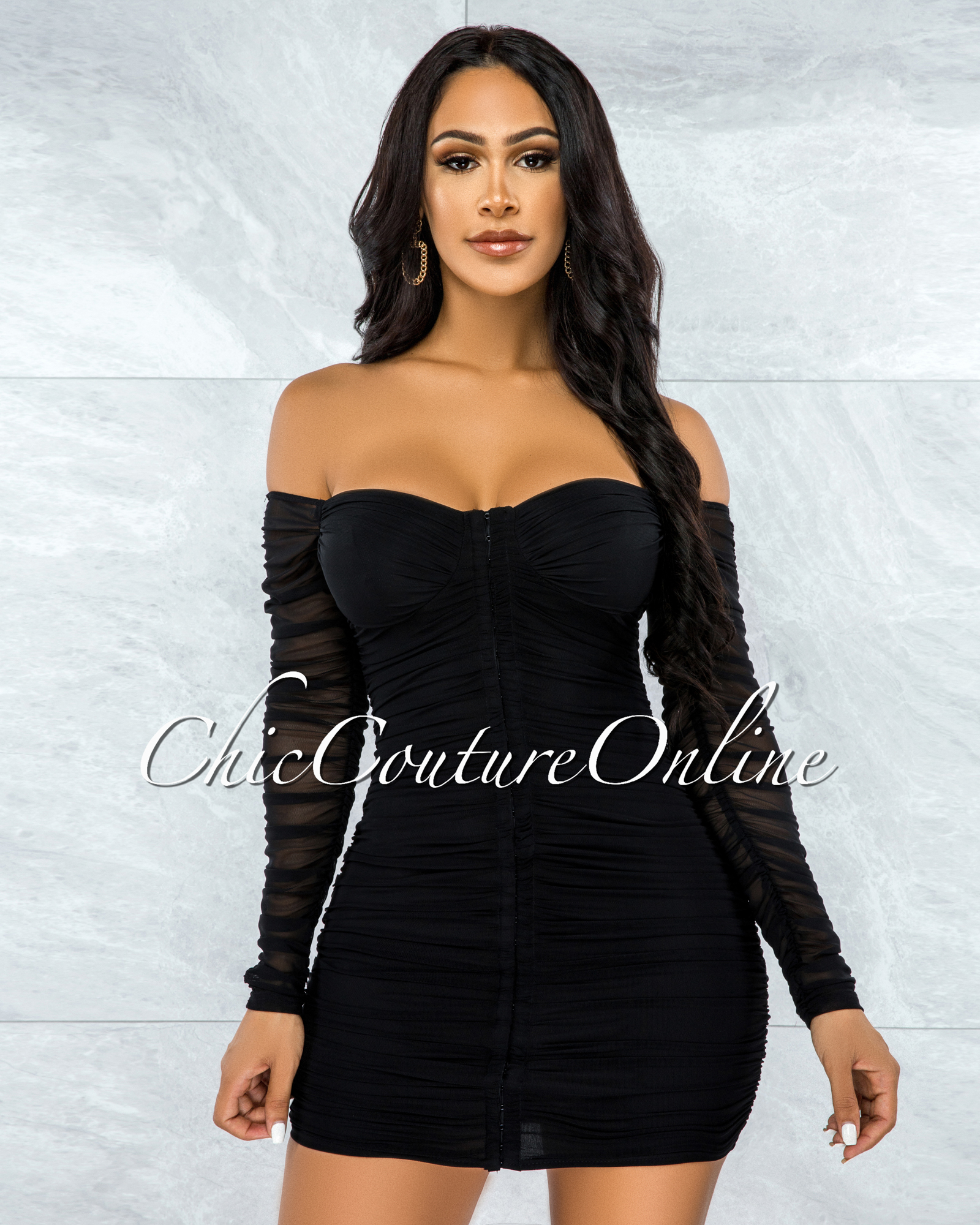 Filomena Black Padded Cups Ruched Front Hooks Dress