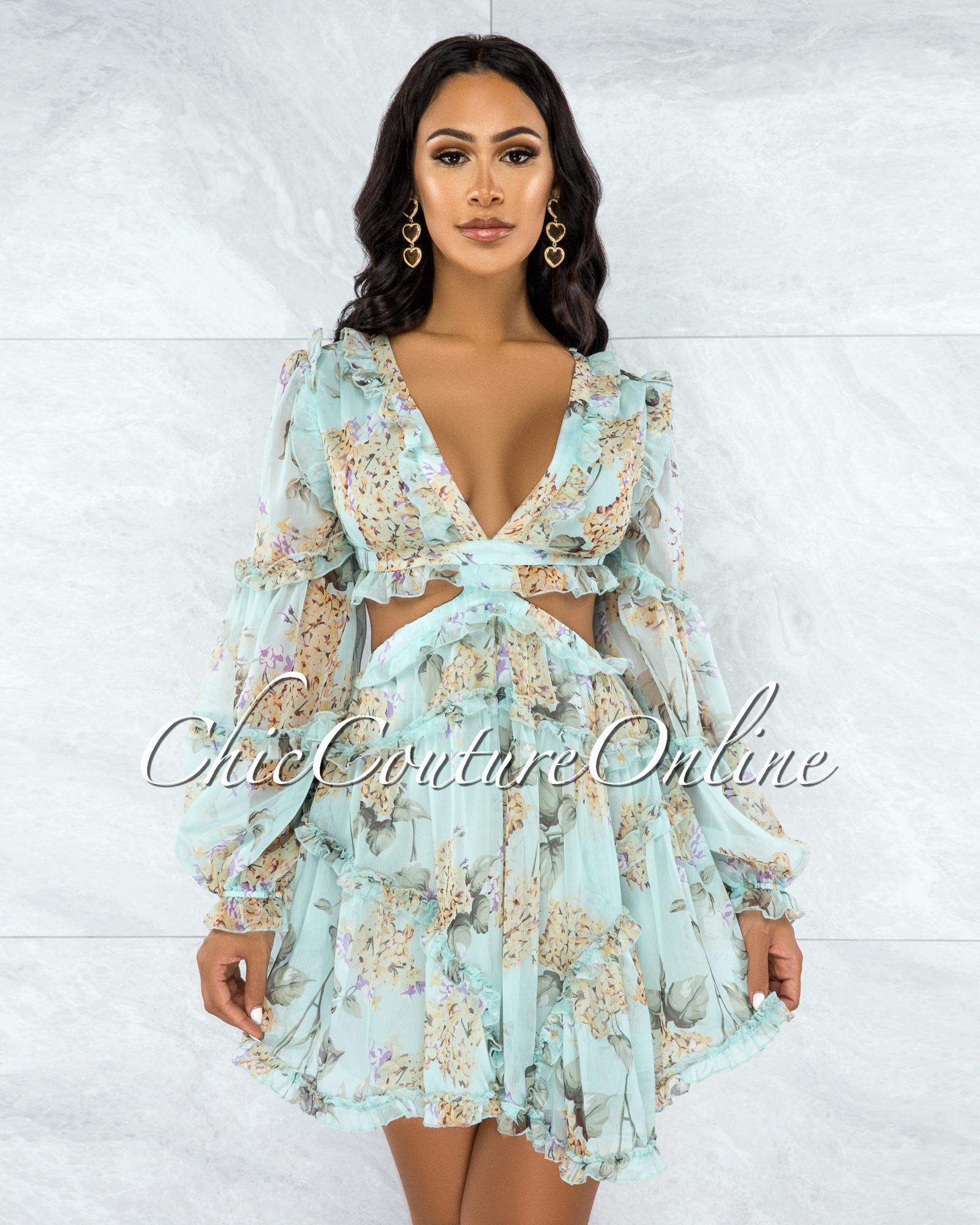 Hamida Mynt Floral Print Cut-Out Ruffle Dress
