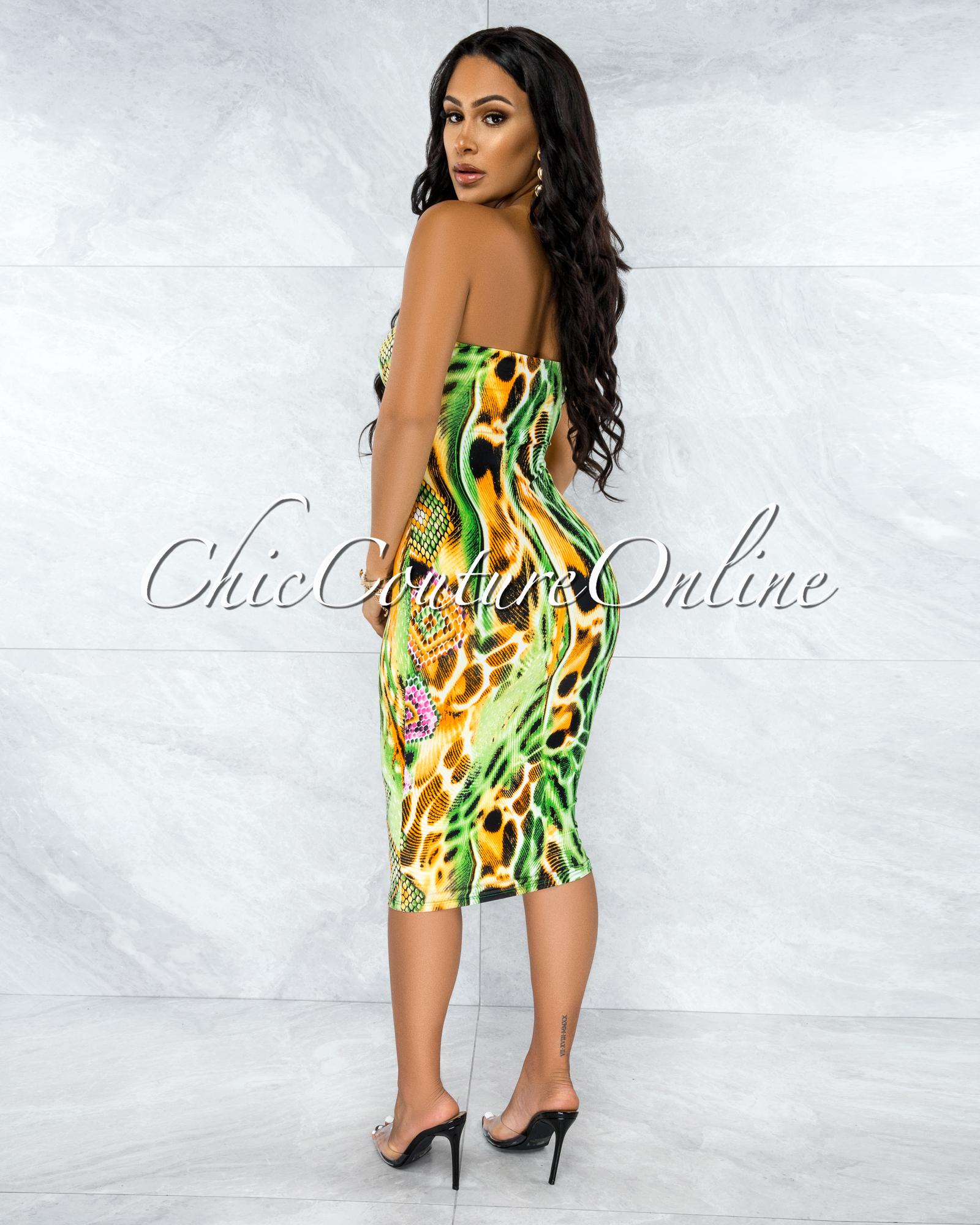 Stella Green Multi-Color Snake Print Tube Midi Dress