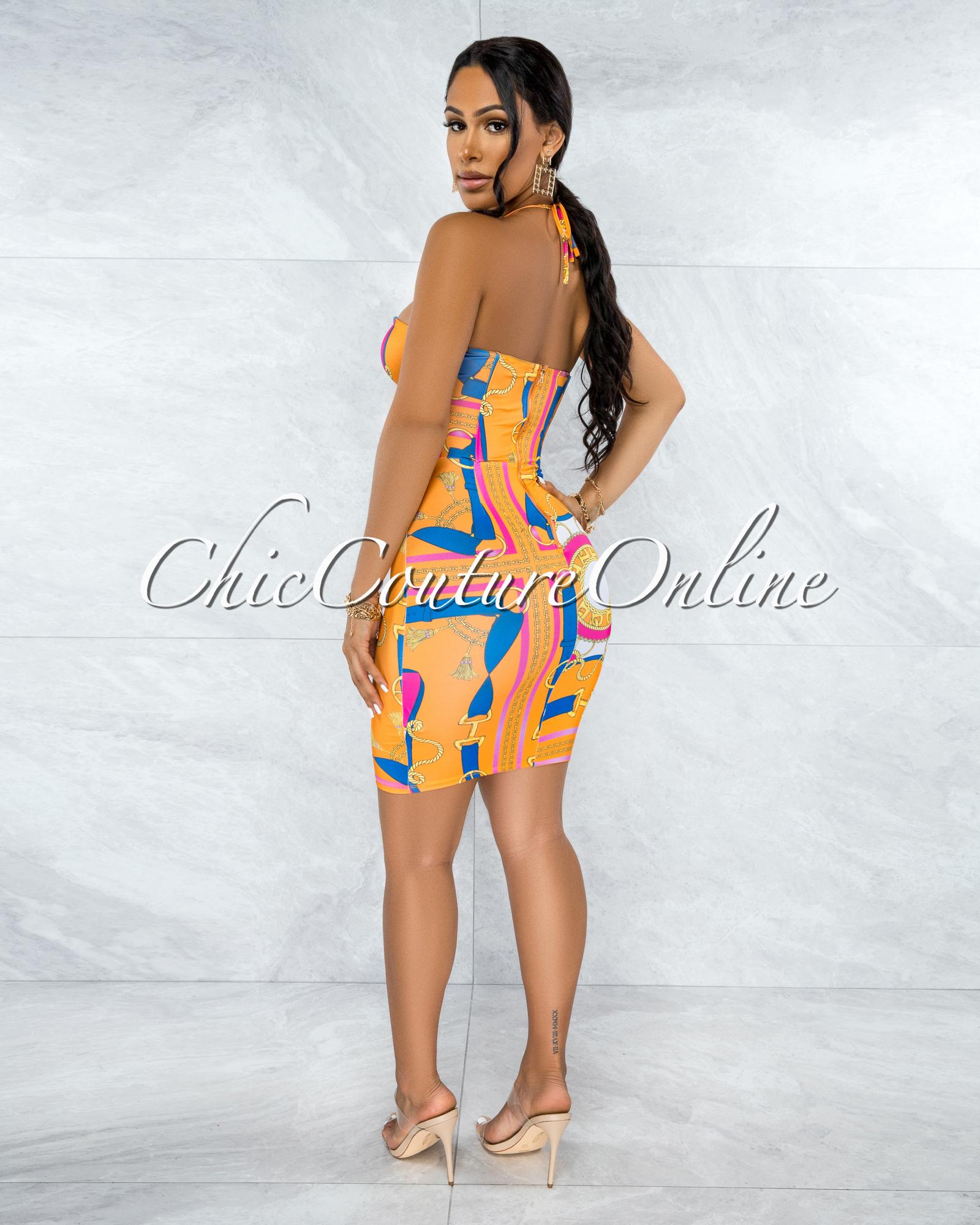 Neti Orange Multi-Color Print Front Lace-Up Corset Dress