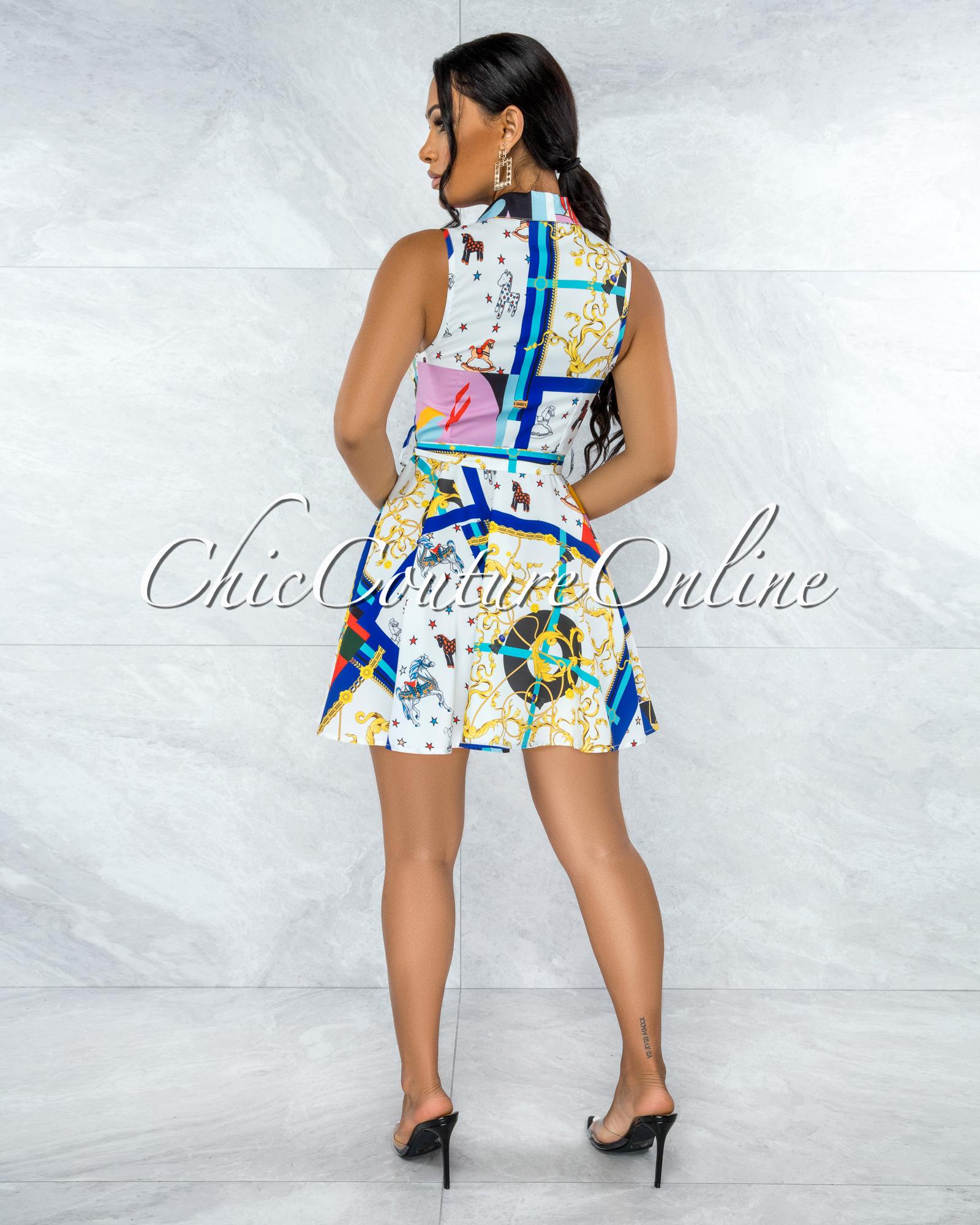 Nicole White Multi-Color Carousel Print Buttons Drape Shirt Dress