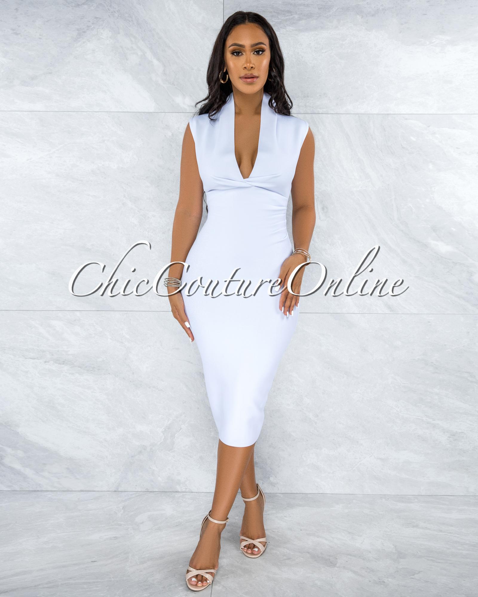 Fernie White V Neck Draped Bandage Midi Dress