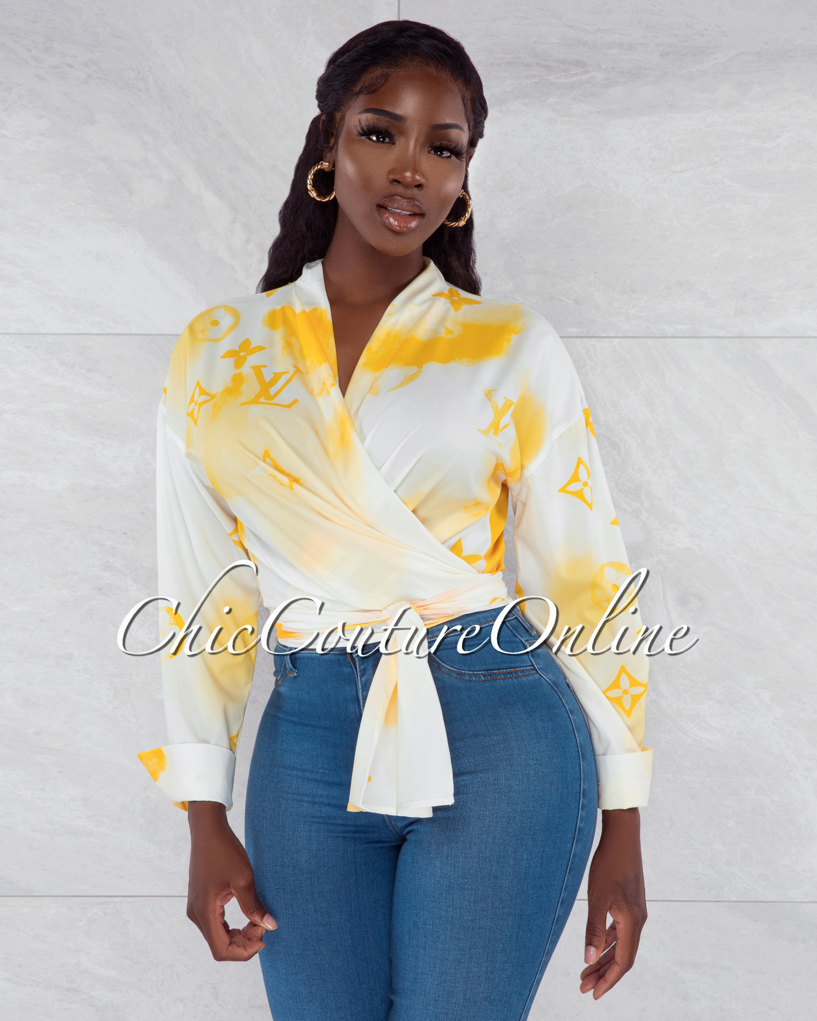 Santana White Yellow Print Front Tie Blouse
