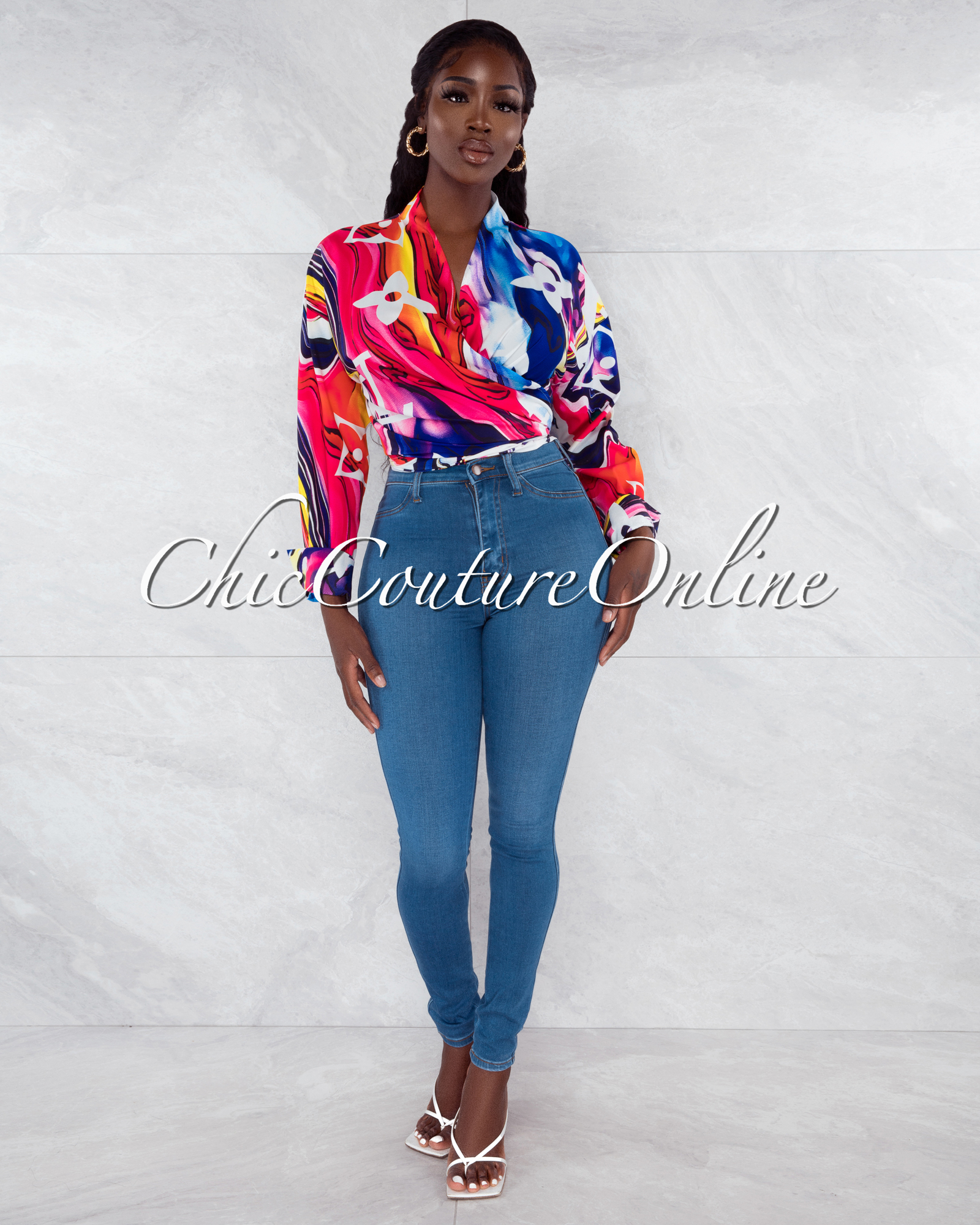Kiwa Fuchsia Purple Print Front Tie Blouse