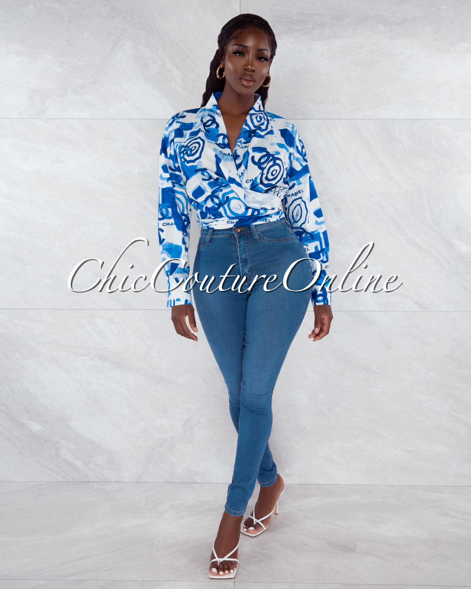 Hande White Blue Print Front Tie Blouse