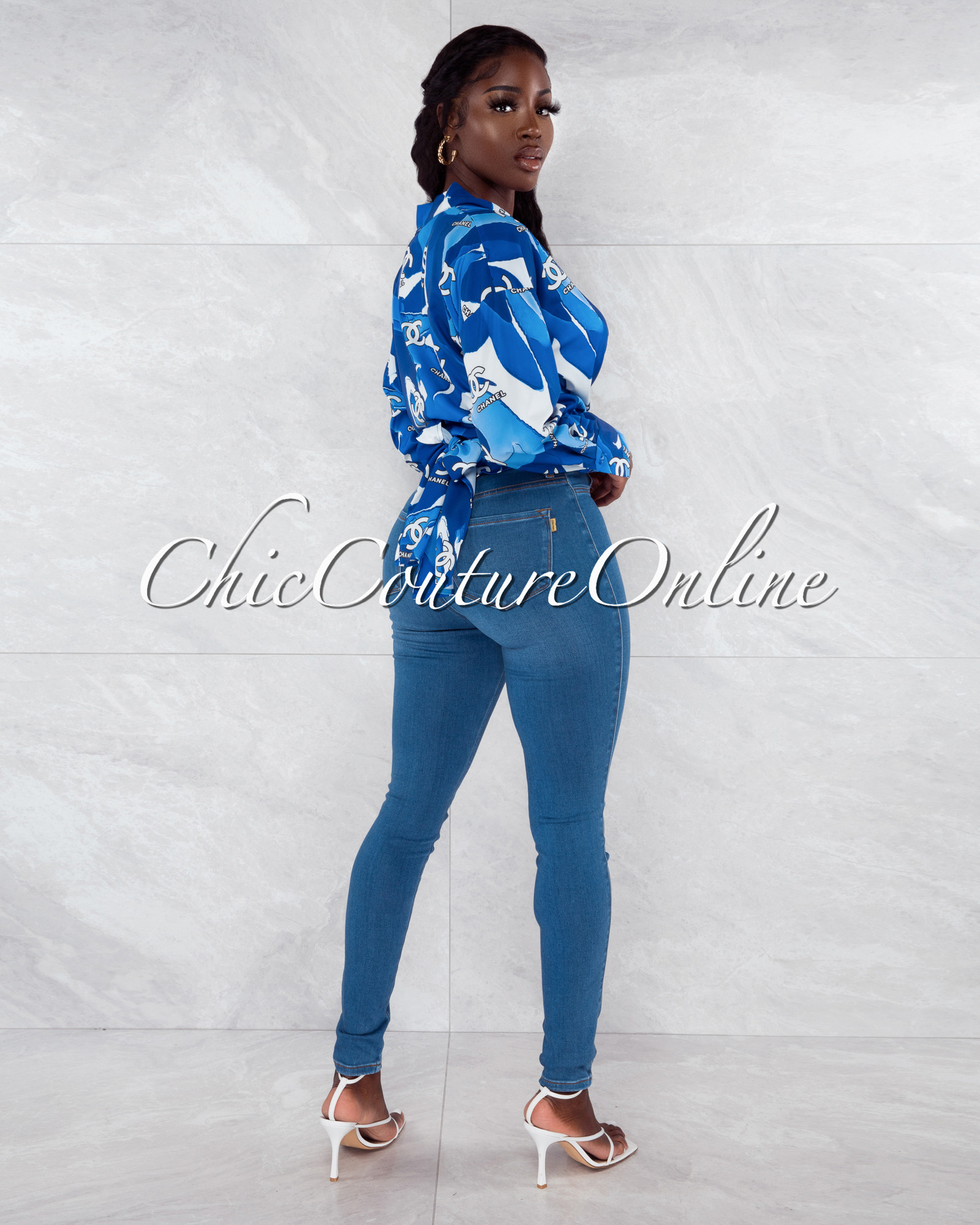 Douce Blue White Print Front Tie Blouse