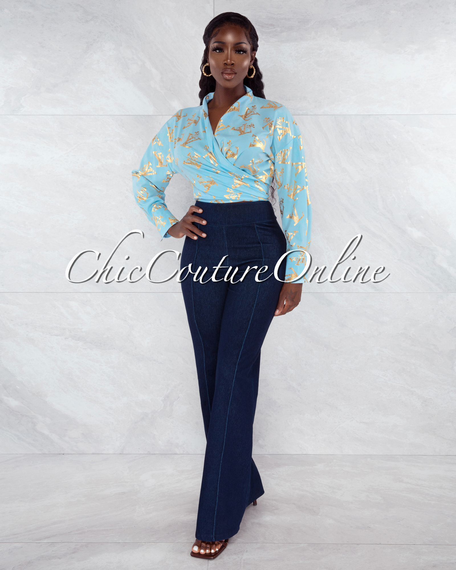 Rumer Baby Blue Gold Print Front Tie Blouse