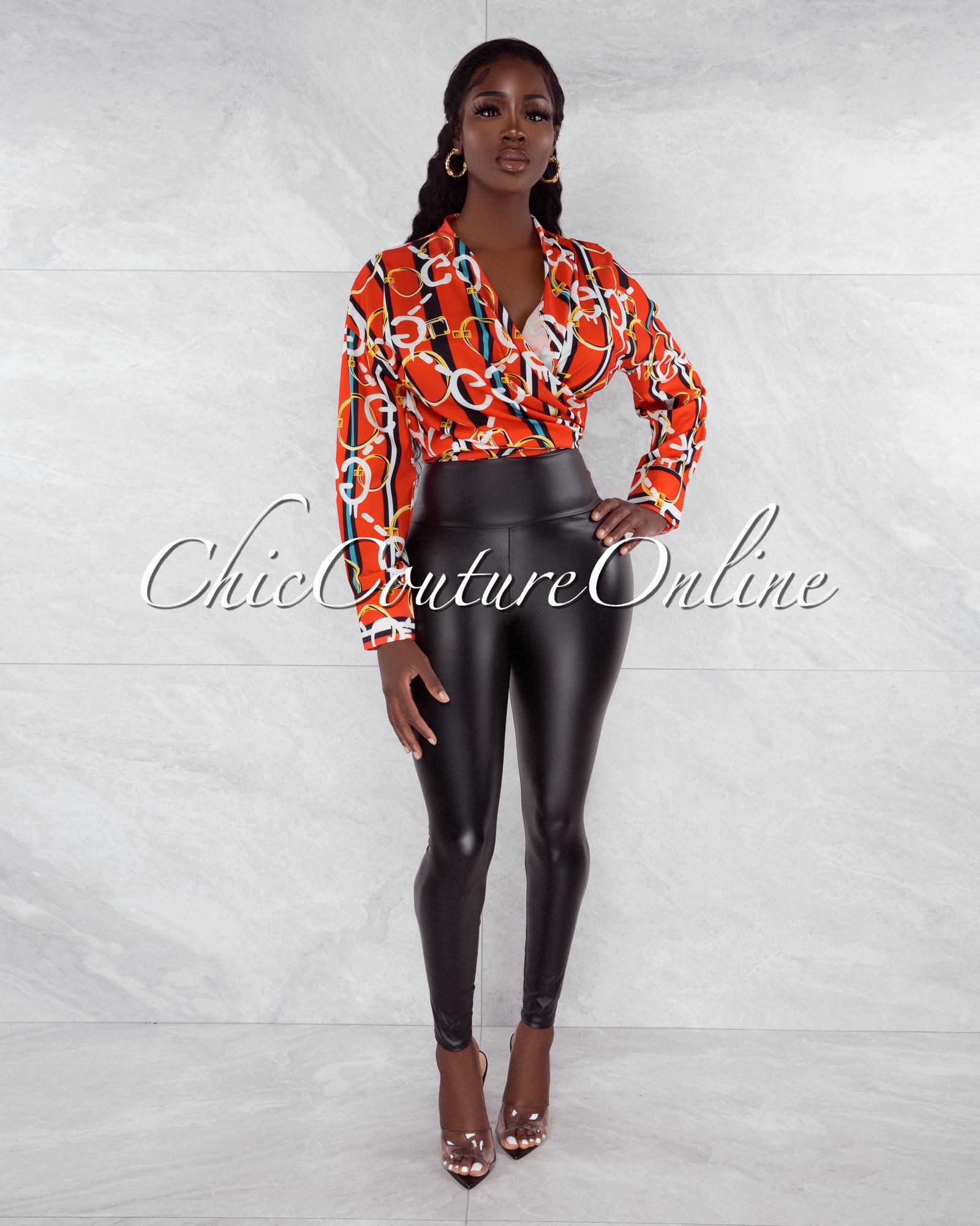 Thomas Orange Black White Print Front Tie Blouse