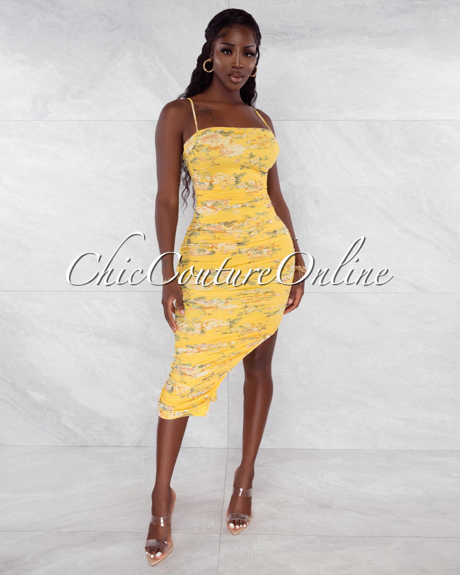 Rowena Yellow Floral Print Mesh Ruched Midi Dress