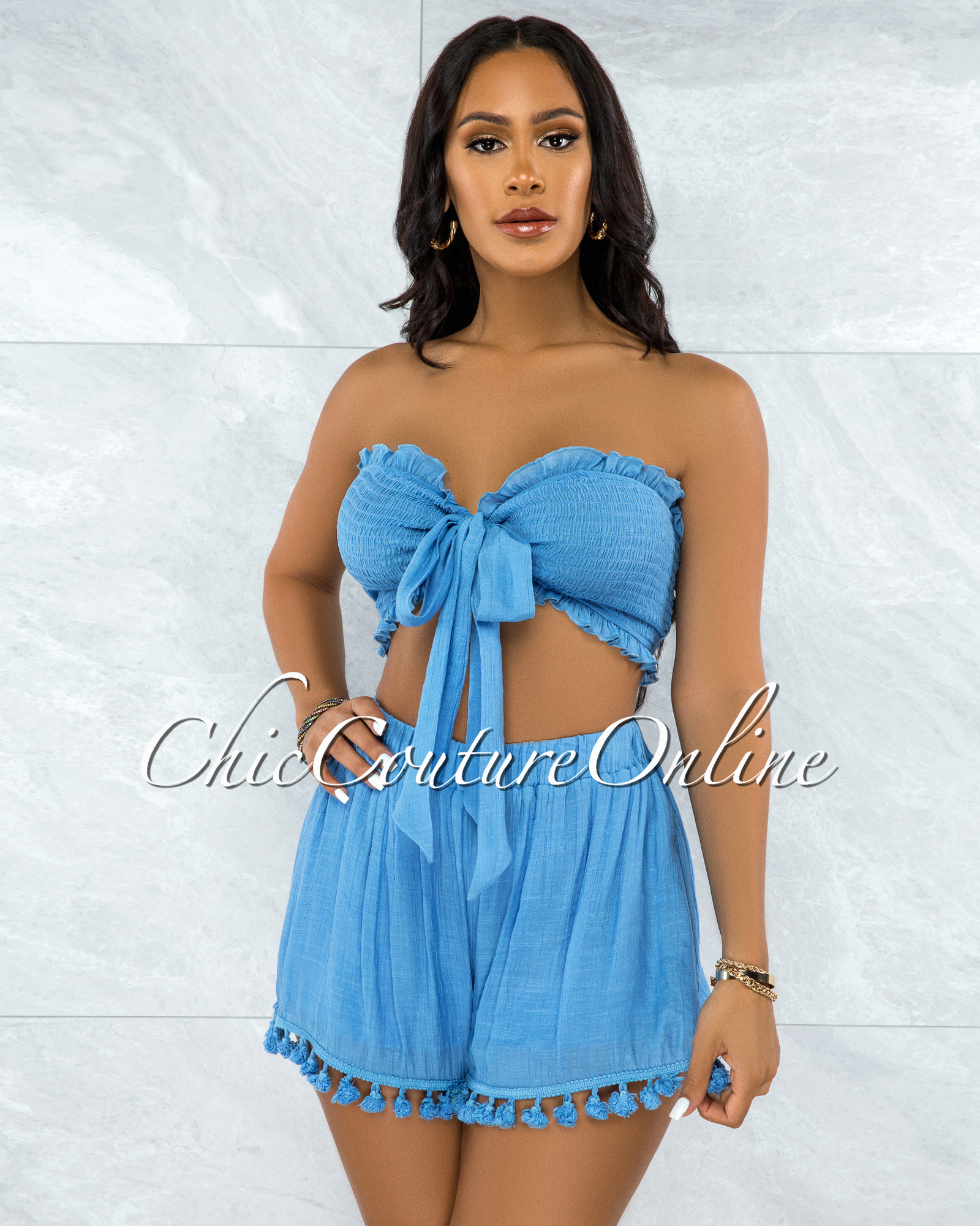 Pegma Cornflower Blue Smocked Tie Top Fringe Shorts Set