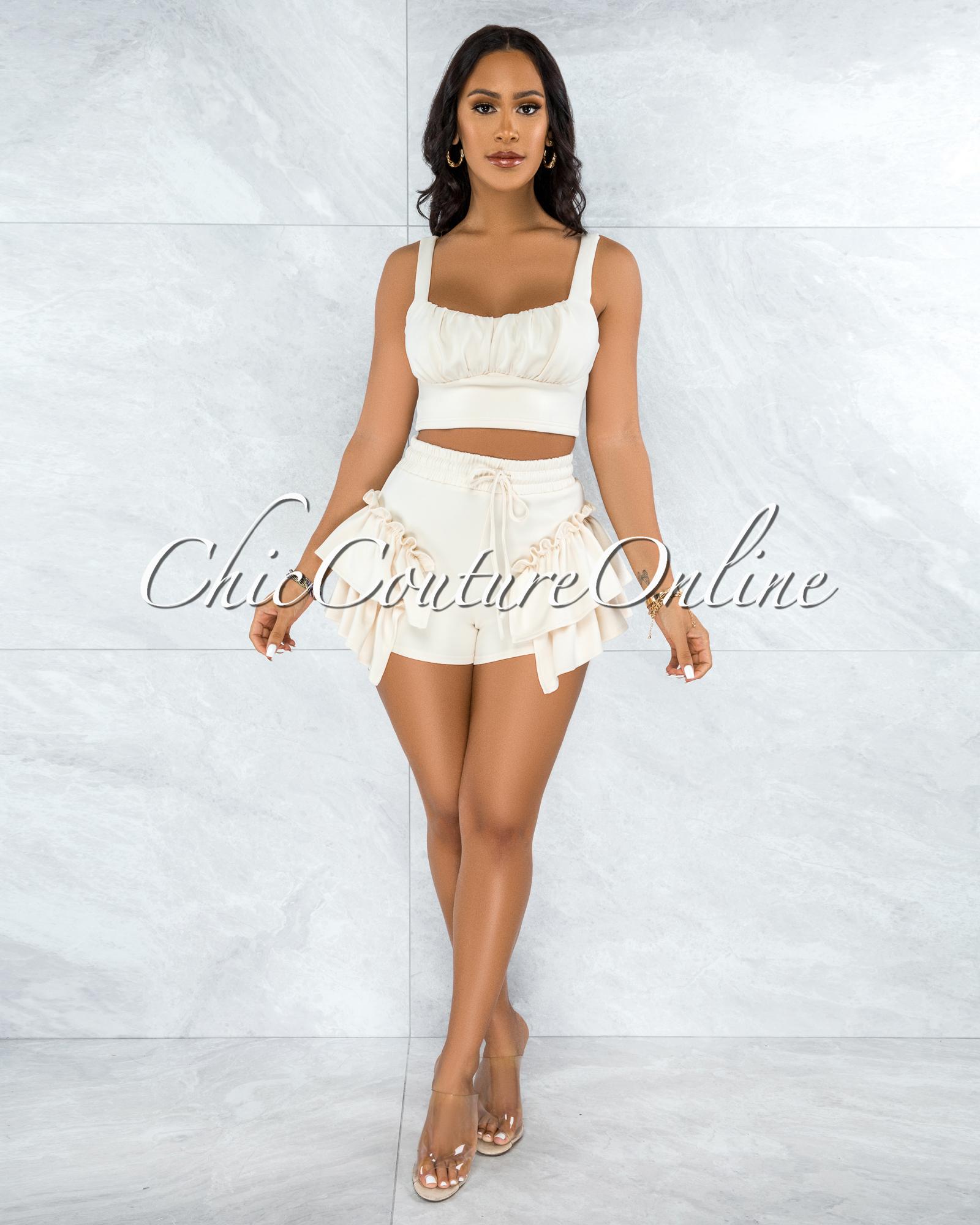 Senalda Cream Crop Top & Ruffle Shorts Set