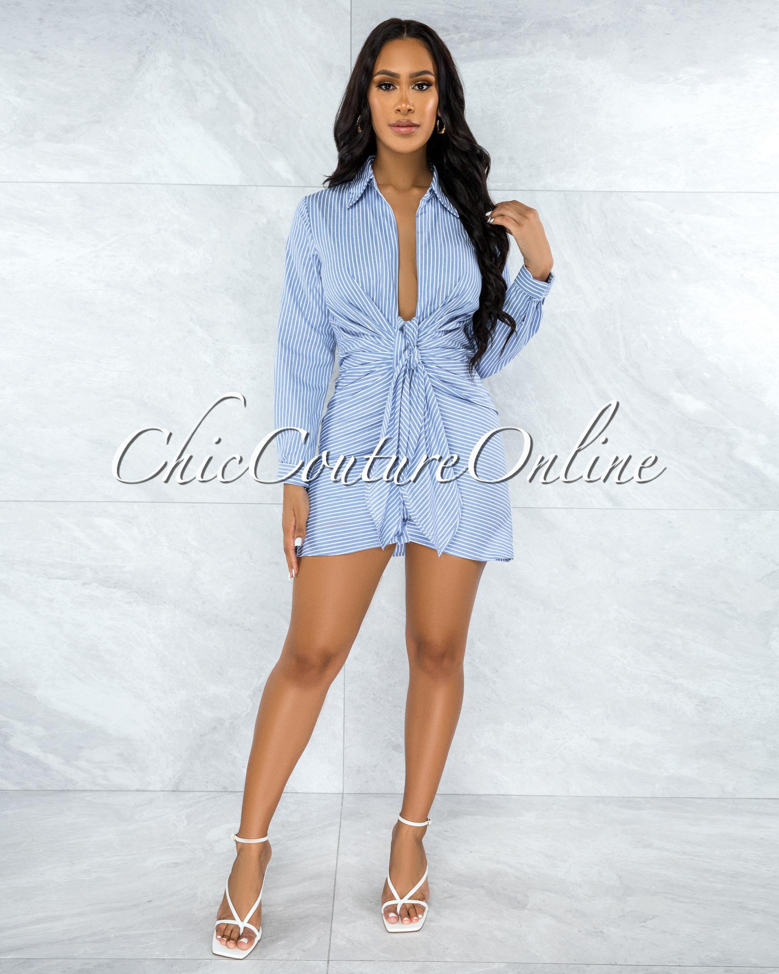 Mutia Blue White Stripes Draped Front Tie Shirt Dress
