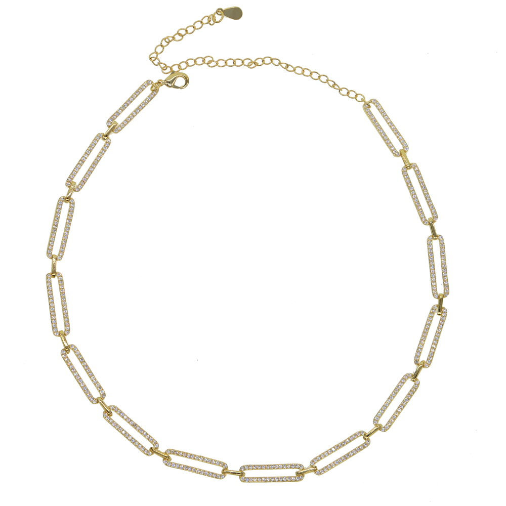 Maybel Gold Bling Micro Pave Cz Rectangle Open Link Chain Choker Necklace